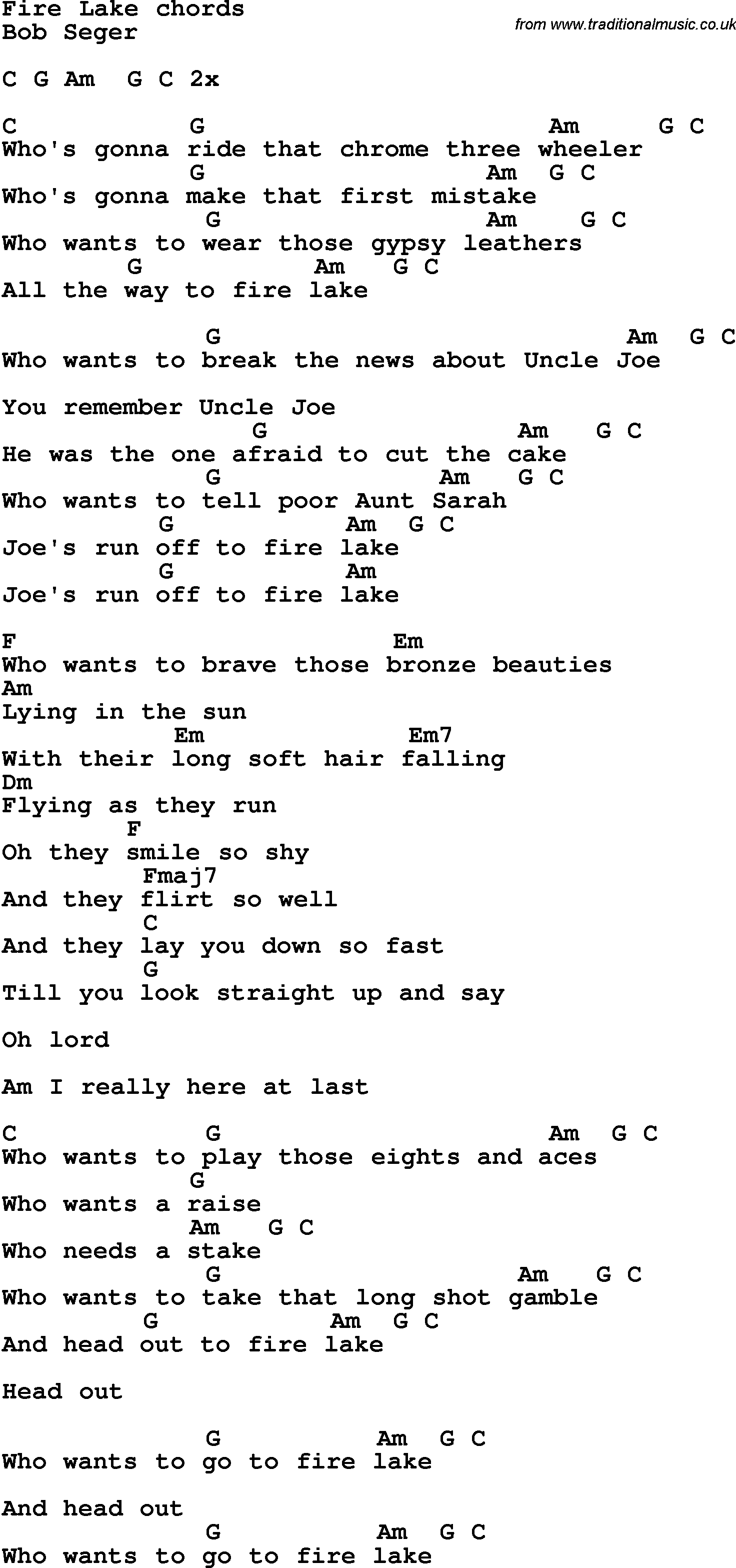 Song lyrics with guitar chords for fire lake song lyrics with guitar chords for fire lake hexwebz Gallery