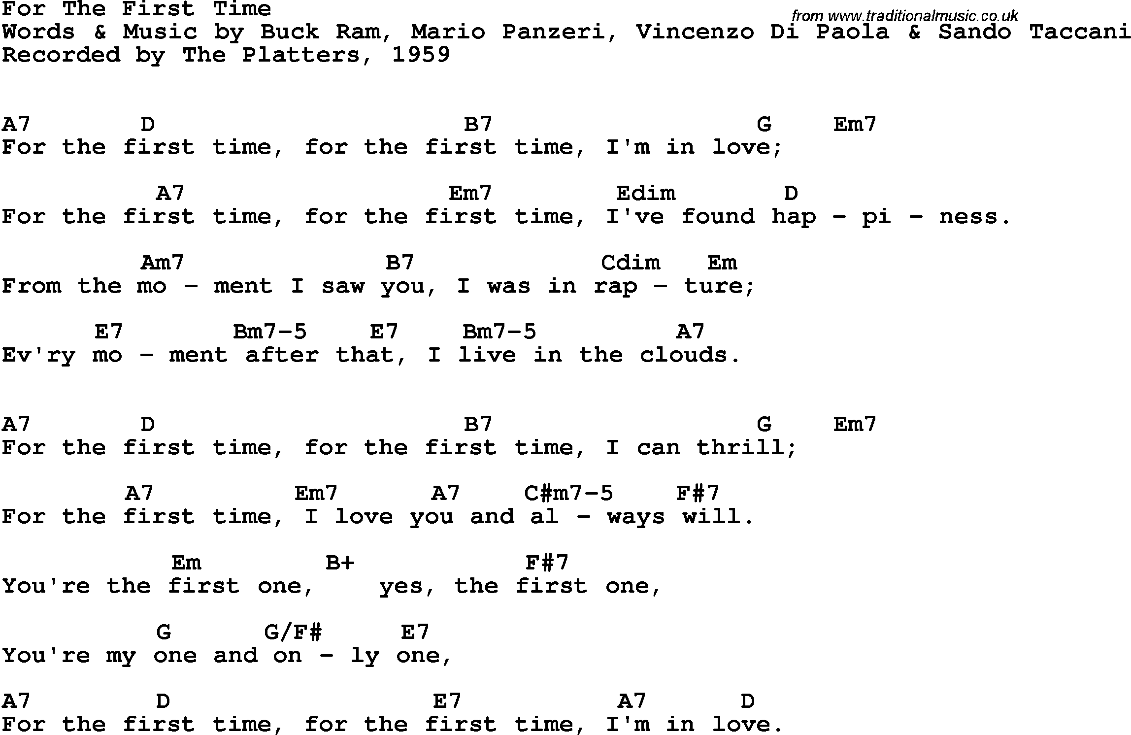 Song Lyrics With Guitar Chords For For The First Time The Platters