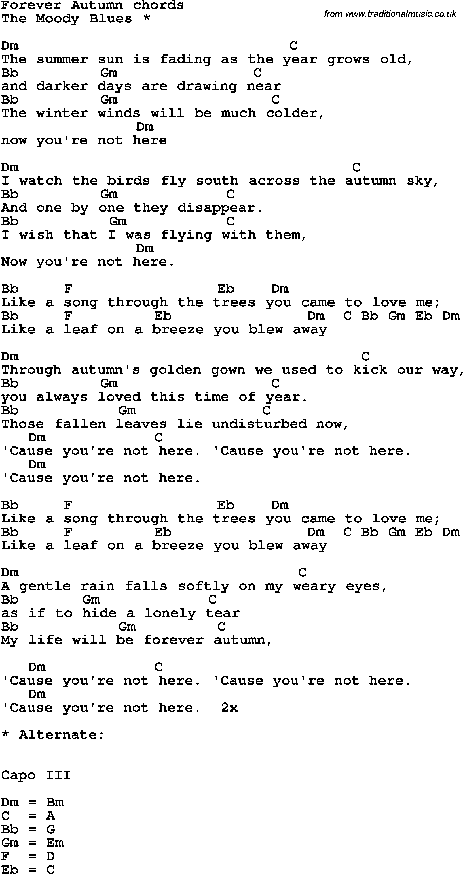 Song Lyrics With Guitar Chords For Forever Autumn