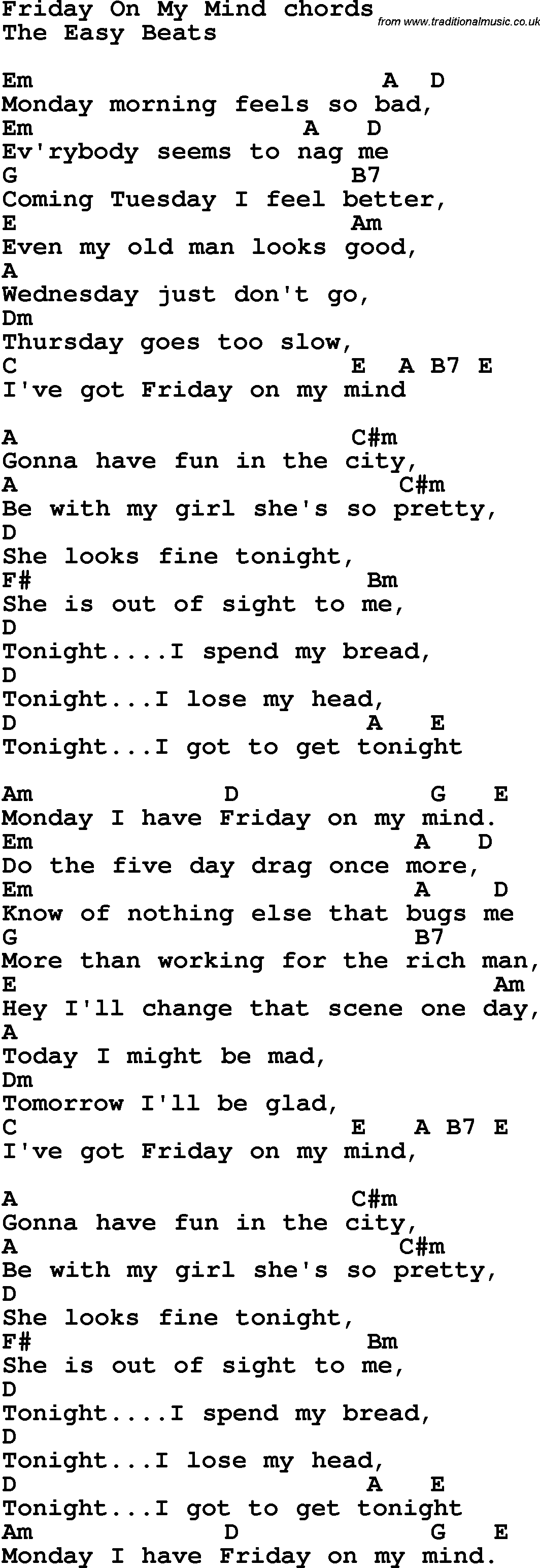Song Lyrics With Guitar Chords For Friday On My Mind