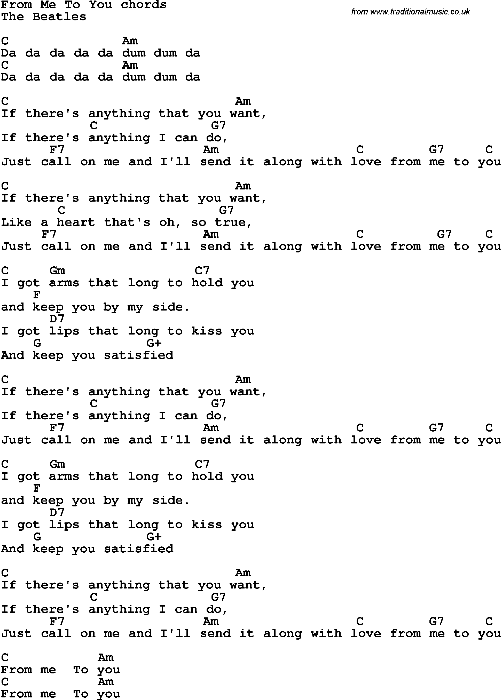 Song lyrics with guitar chords for from me to you the for Me to u pictures