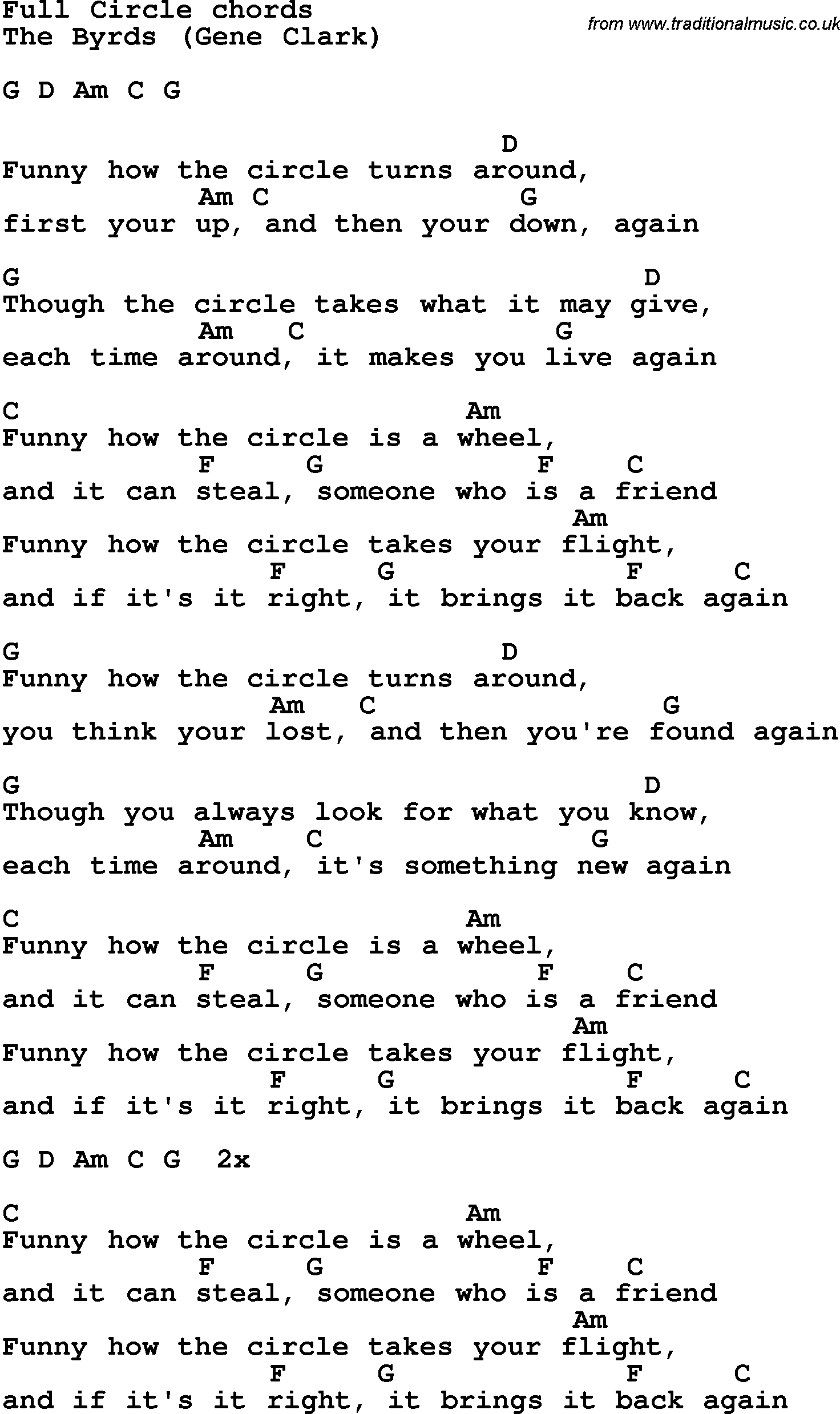 Song lyrics with guitar chords for full circle