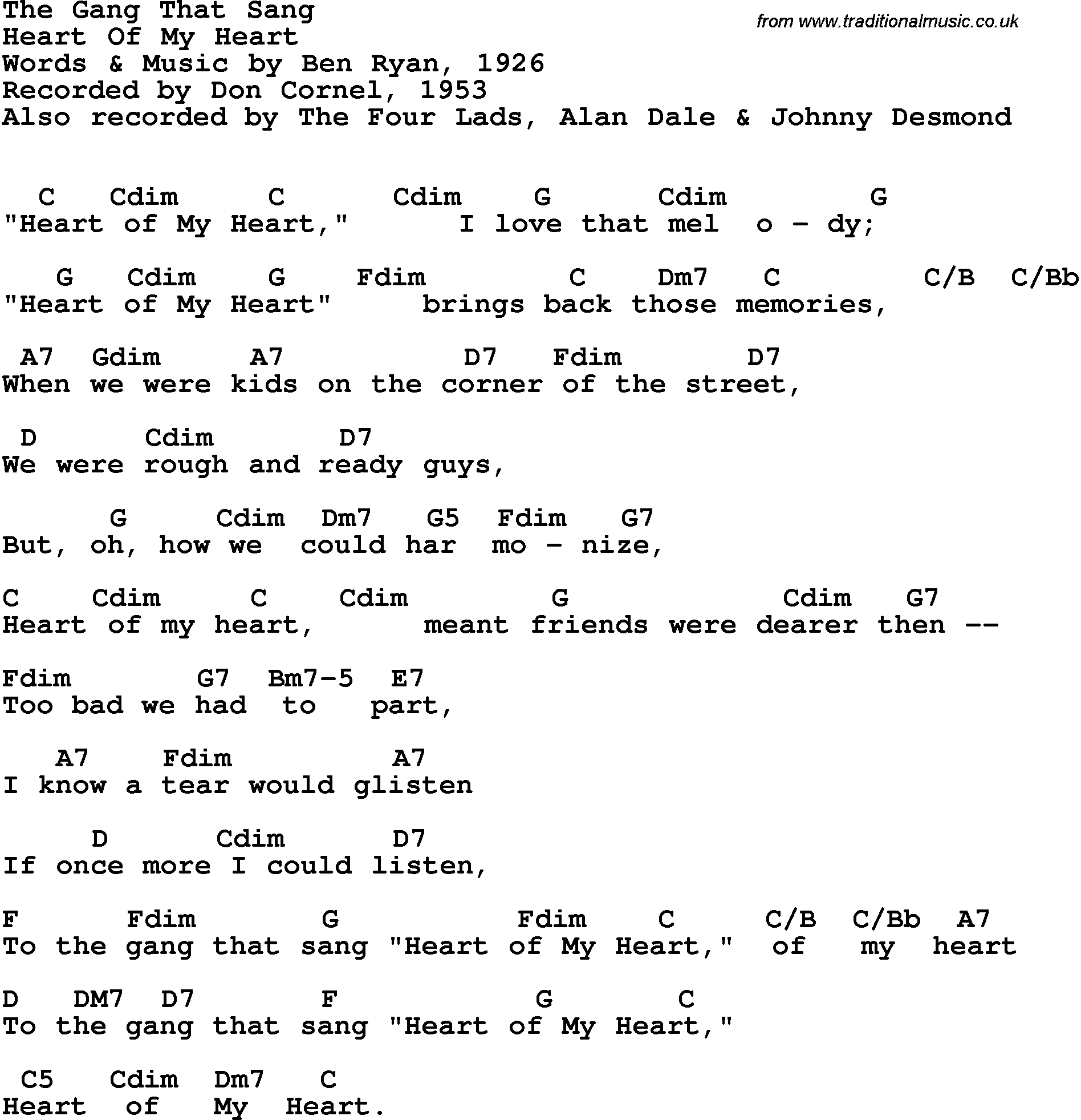 Song Lyrics With Guitar Chords For Gang That Sang Heart Of My Heart