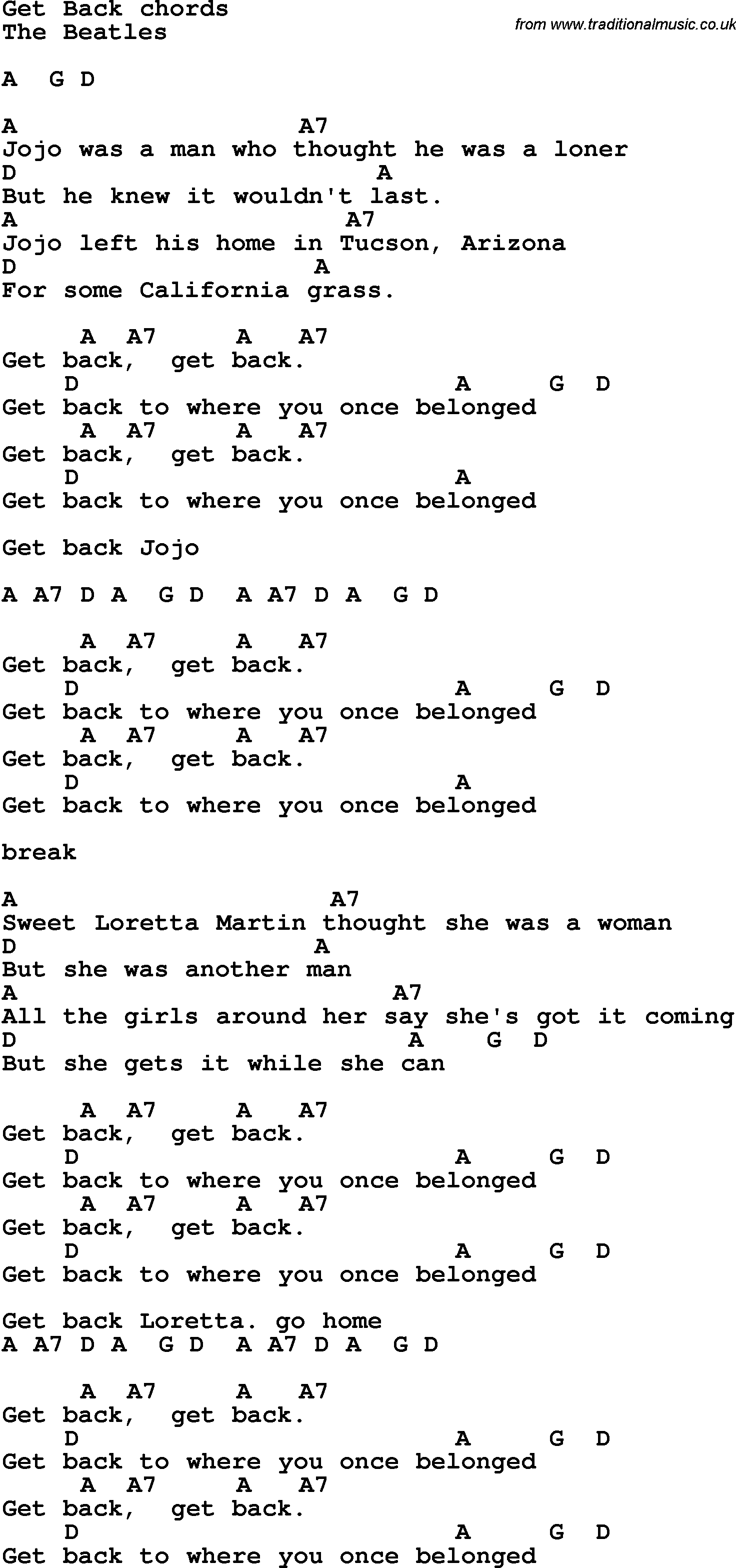 Song lyrics with guitar chords for get back the beatles song lyrics with guitar chords for get back the beatles hexwebz Images