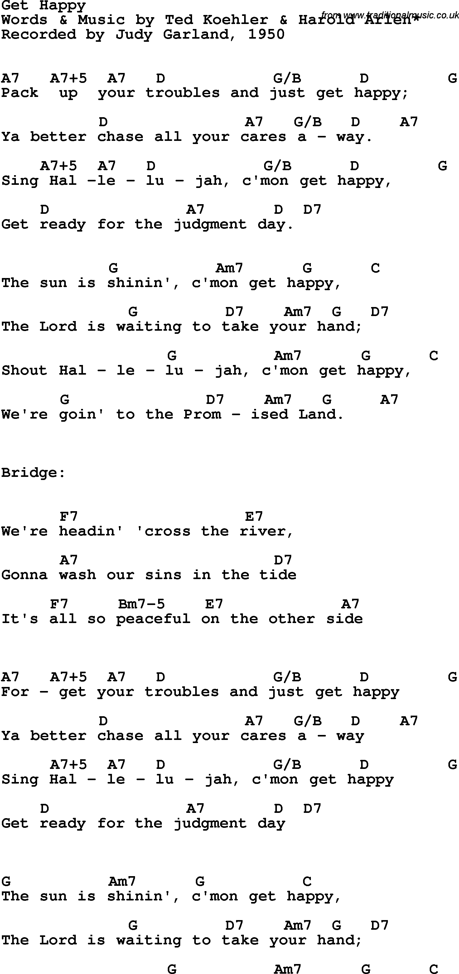 Song Lyrics With Guitar Chords For Get Happy Judy Garland 1950