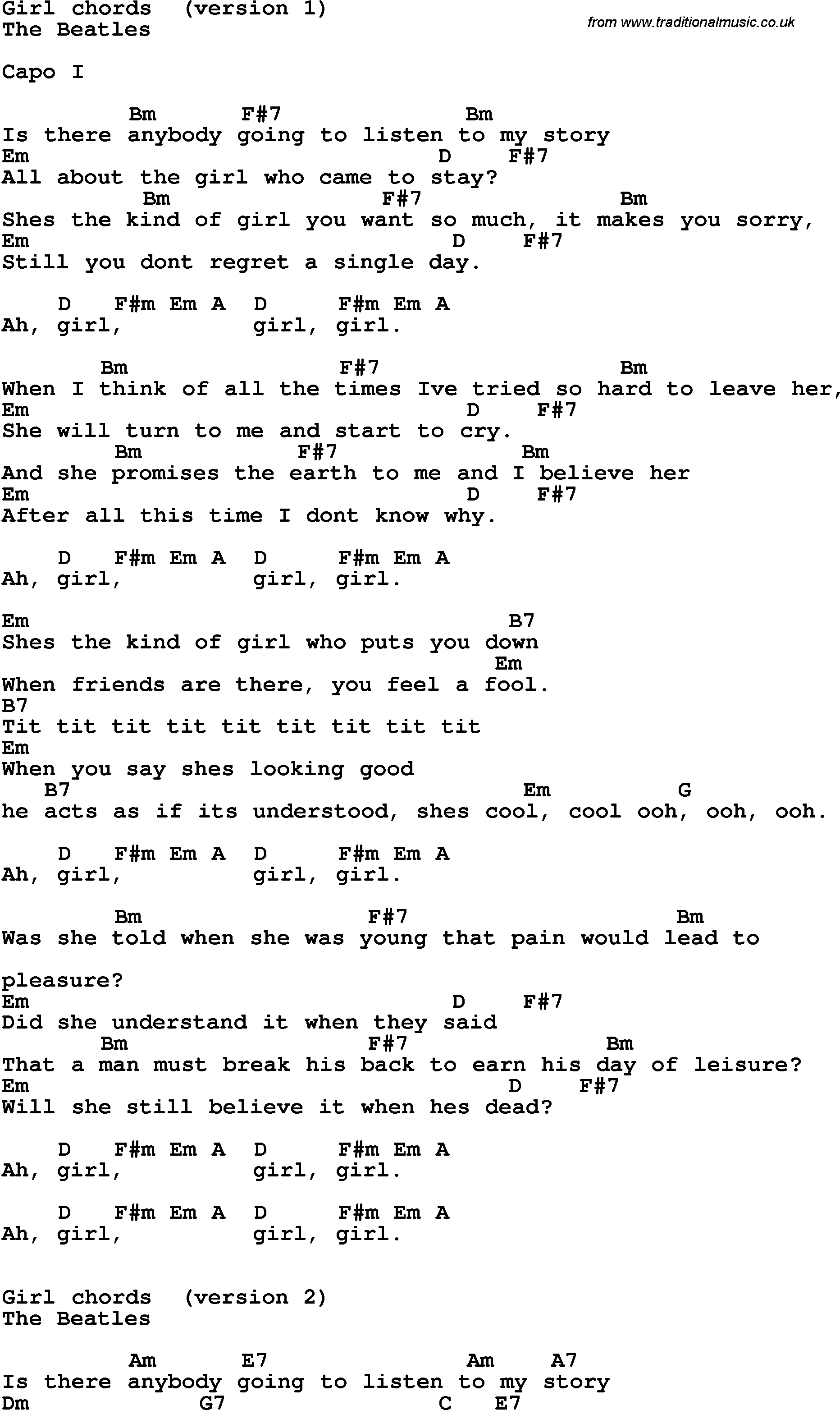 The Beatles - Girl Lyrics | MetroLyrics