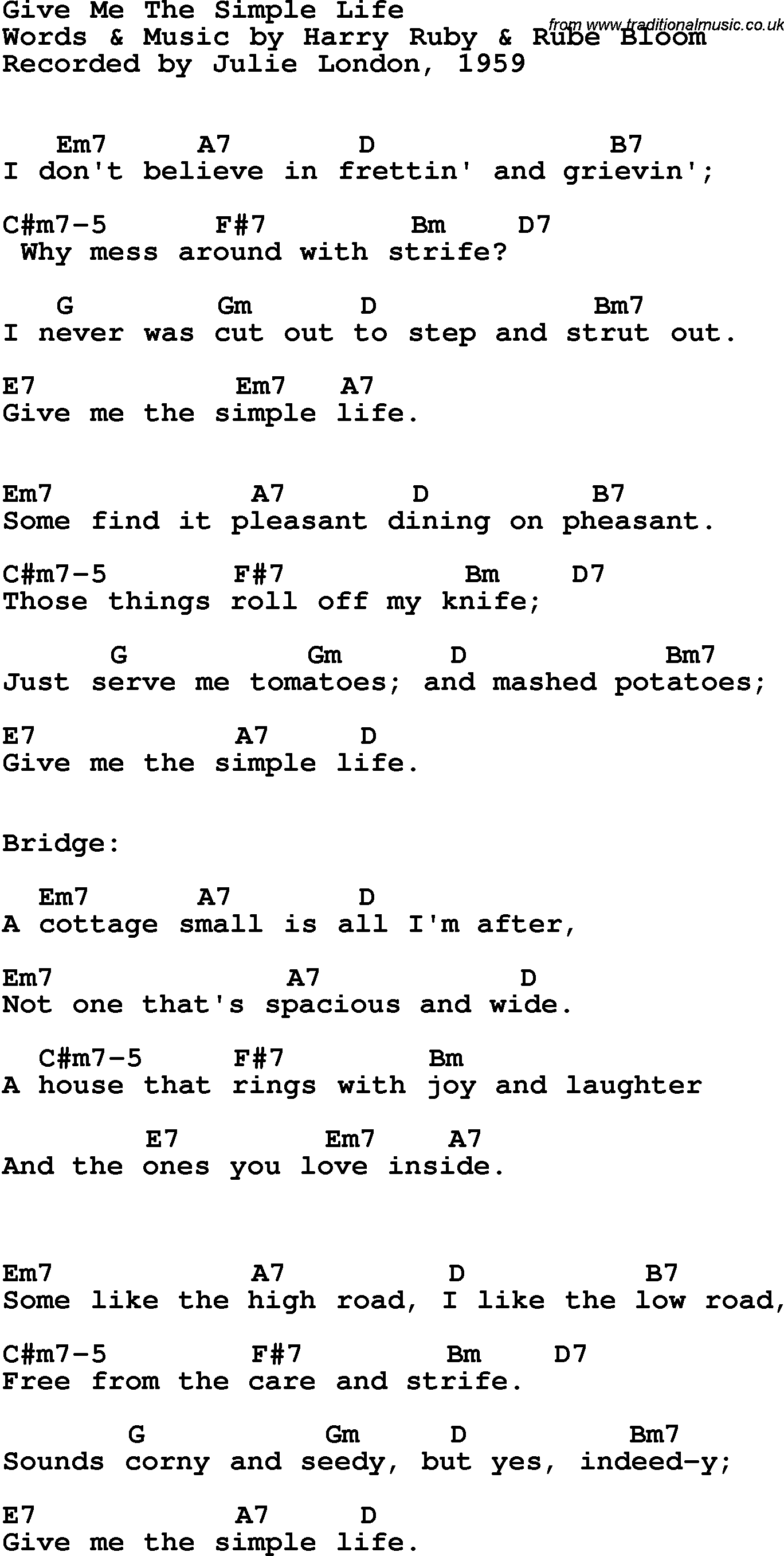 Song Lyrics With Guitar Chords For Give Me The Simple Life Julie