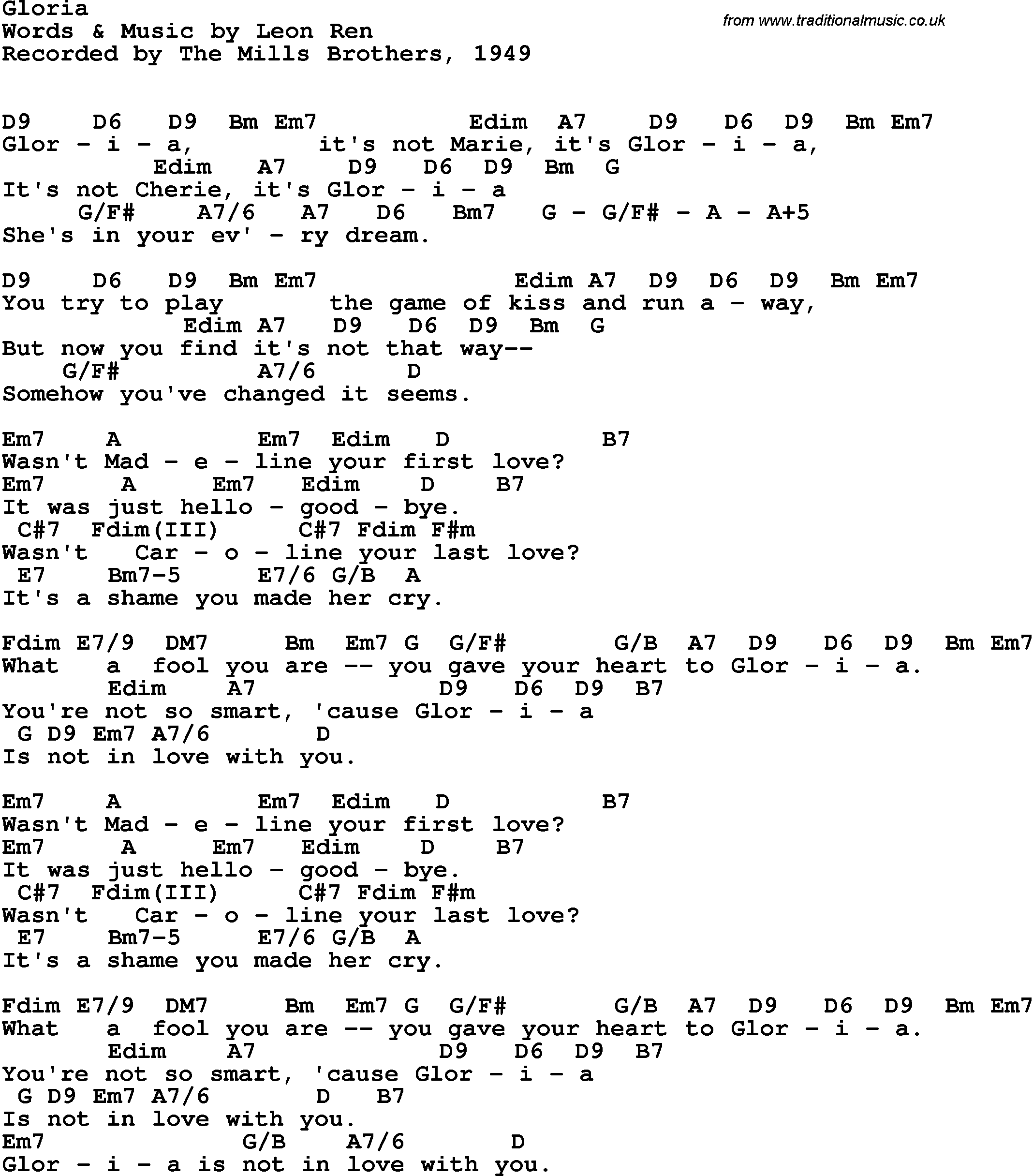 Song lyrics with guitar chords for Gloria - The Mills Brothers, 1949