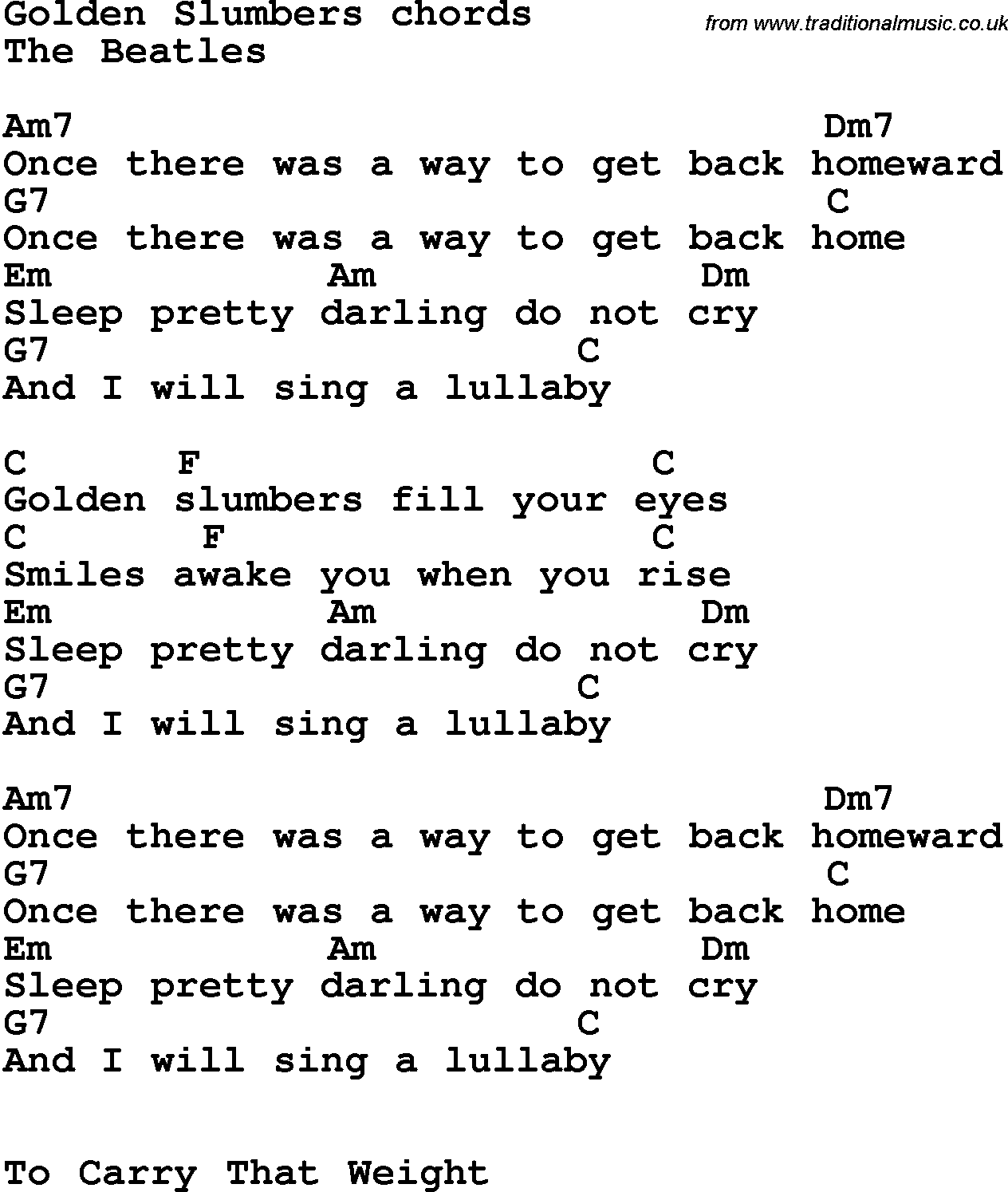 Song lyrics with guitar chords for Golden Slumbers   The Beatles