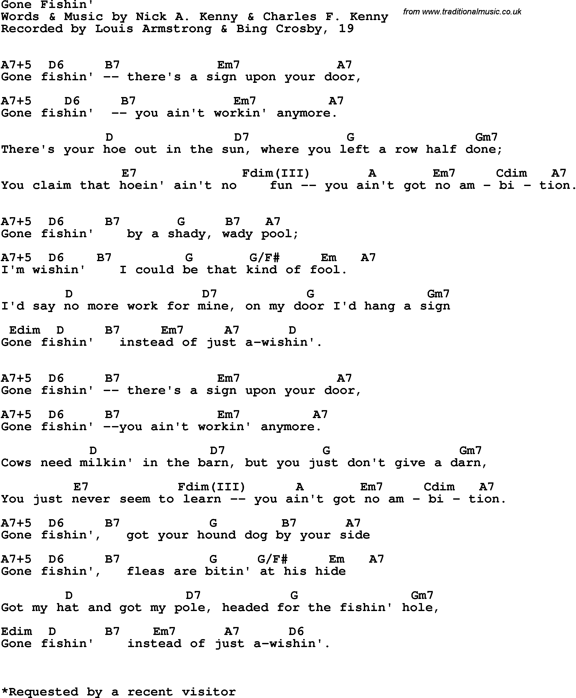 Song Lyrics With Guitar Chords For Gone Fishin Bing Crosby
