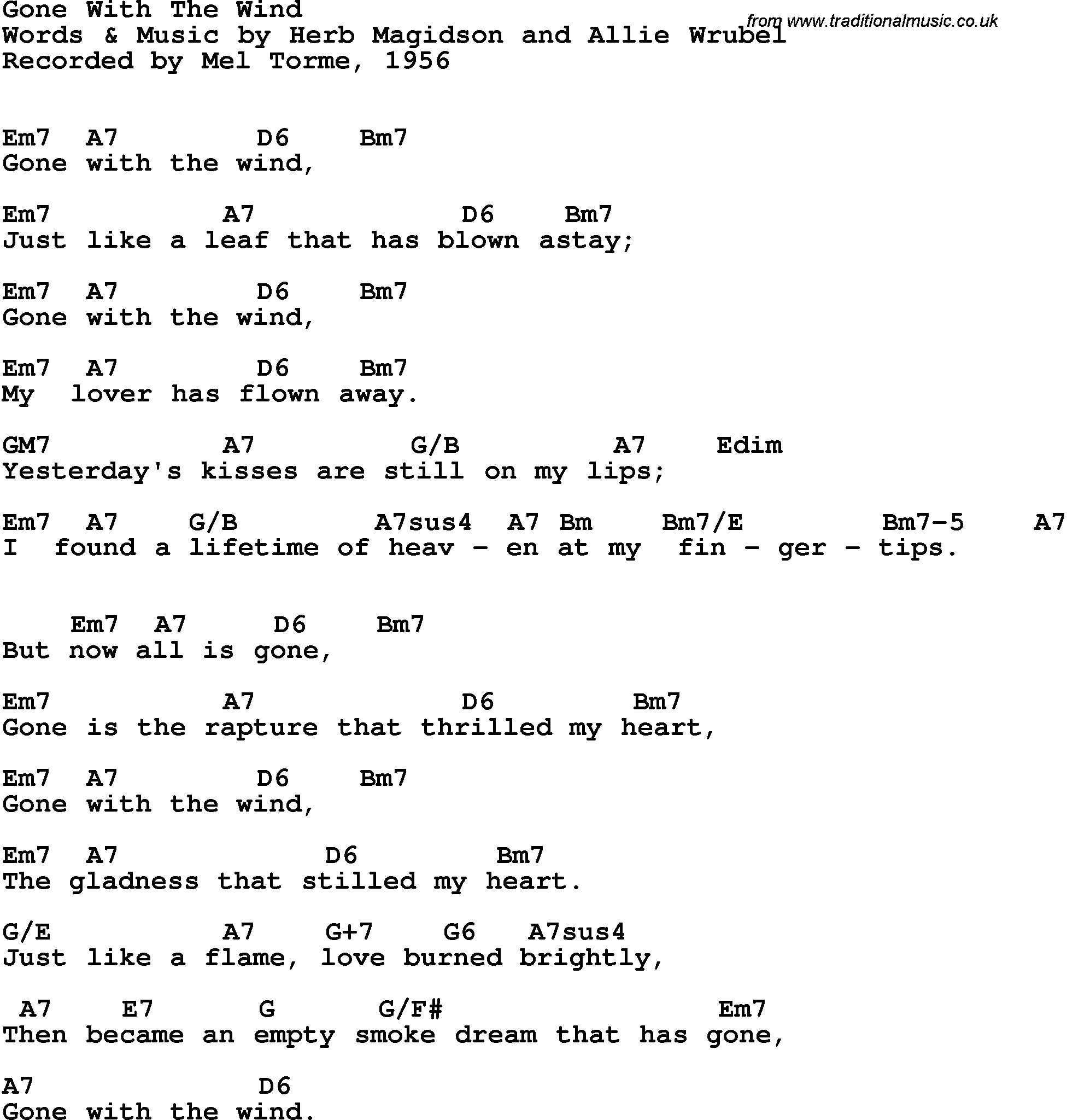 Song Lyrics With Guitar Chords For Gone With The Wind Mel Torme 1956