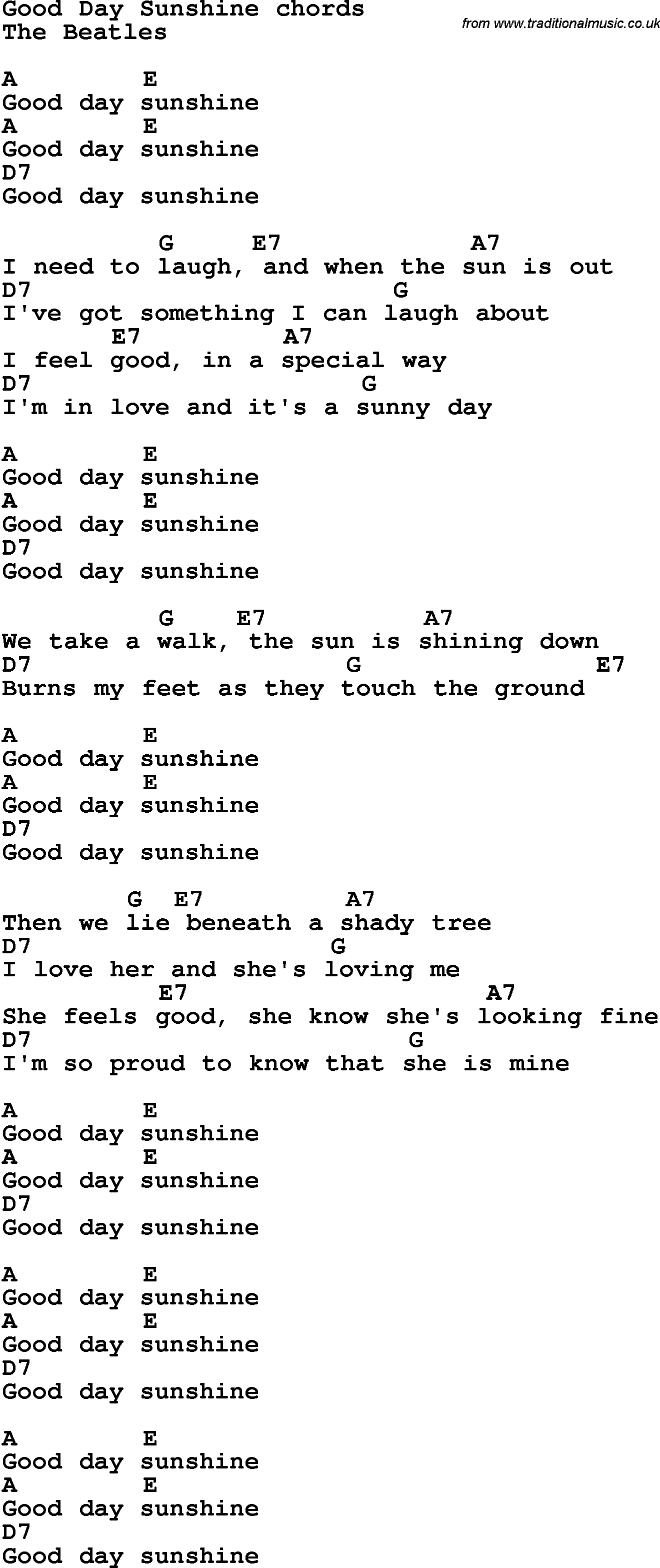 Song Lyrics With Guitar Chords For Good Day Sunshine The Beatles
