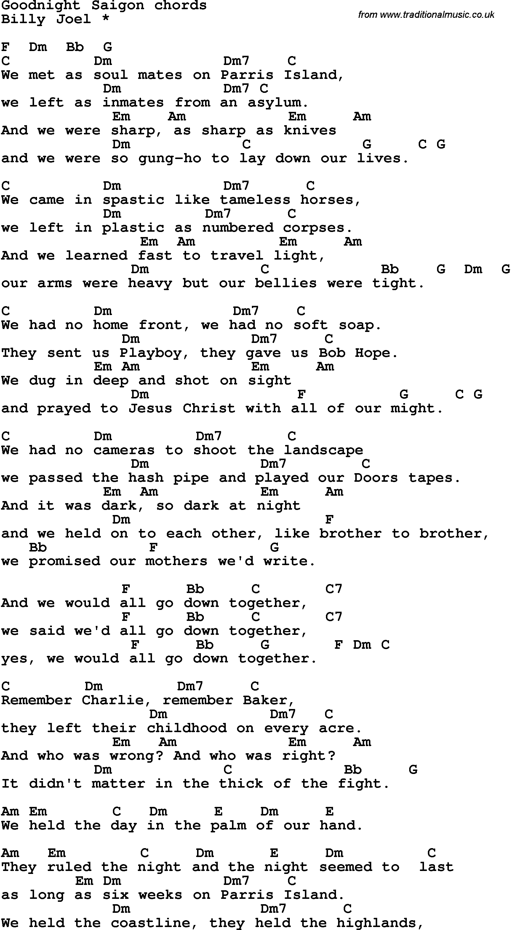 Song Lyrics With Guitar Chords For Goodnight Saigon