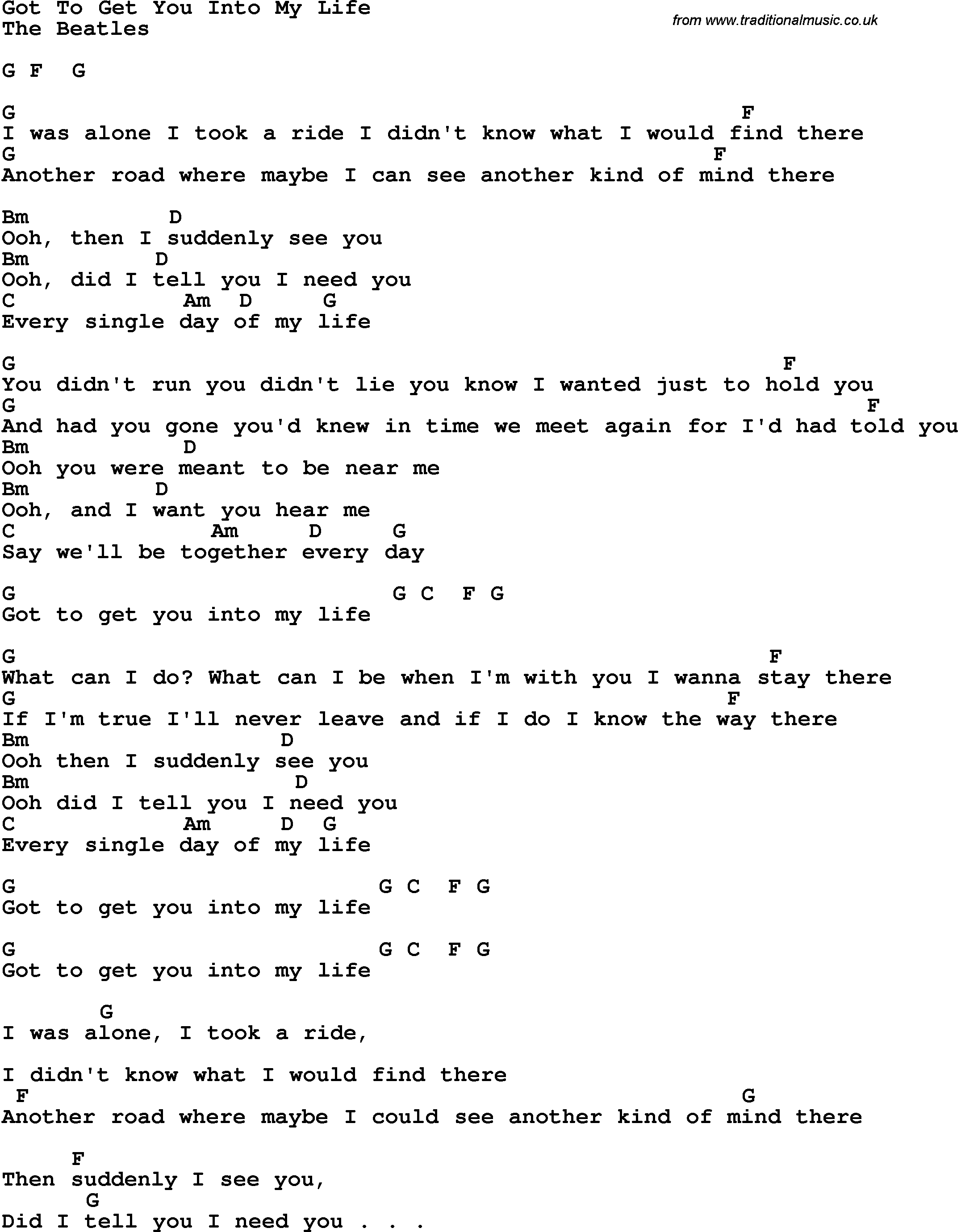 Song Lyrics With Guitar Chords For Got To Get You Into My Life