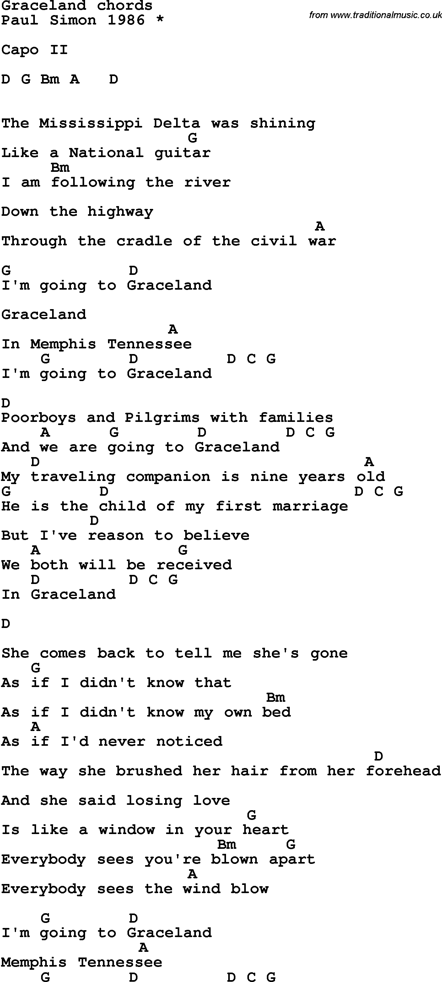 Song Lyrics With Guitar Chords For Graceland