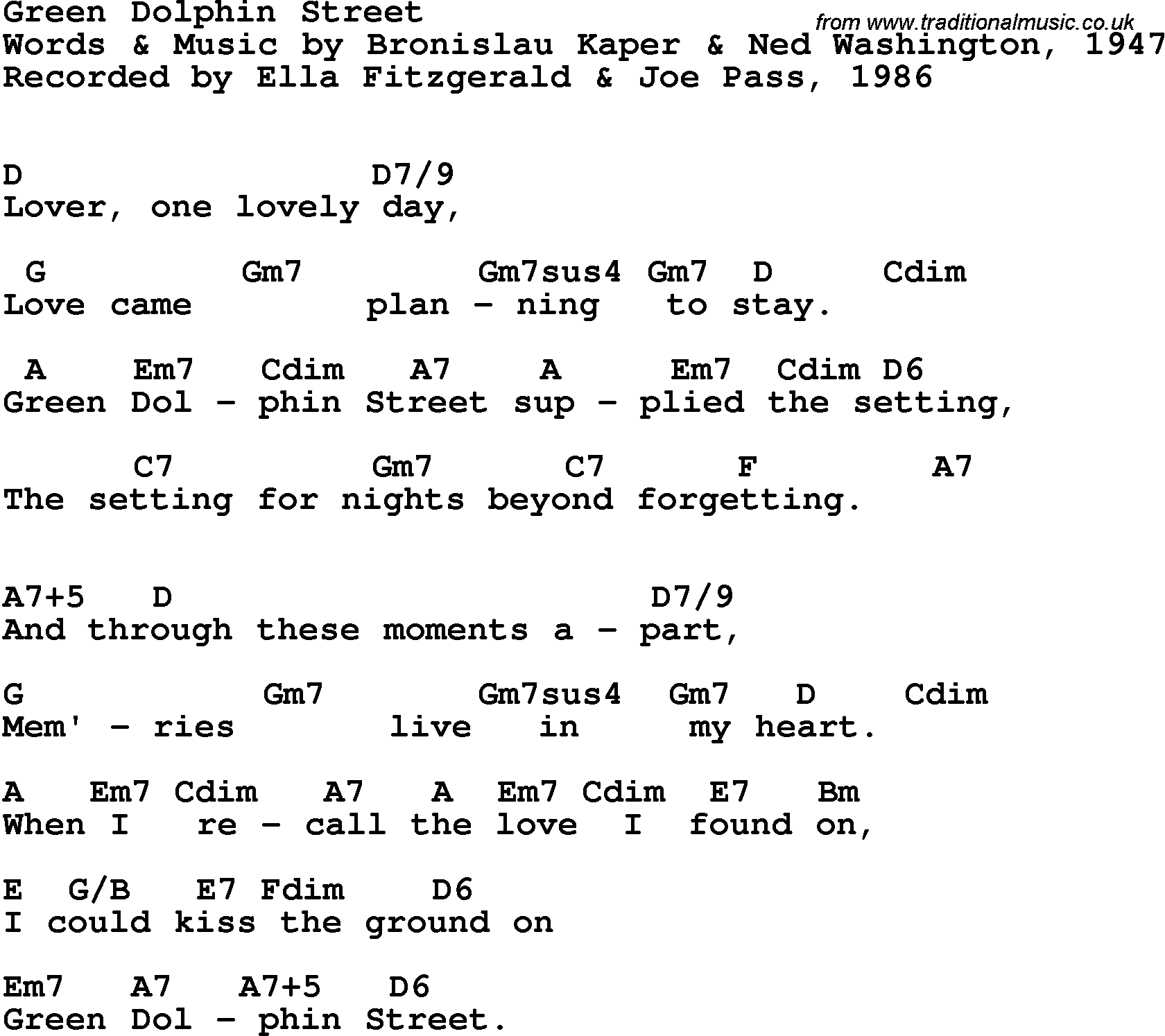 Song Lyrics With Guitar Chords For Green Dolphin Street Ella