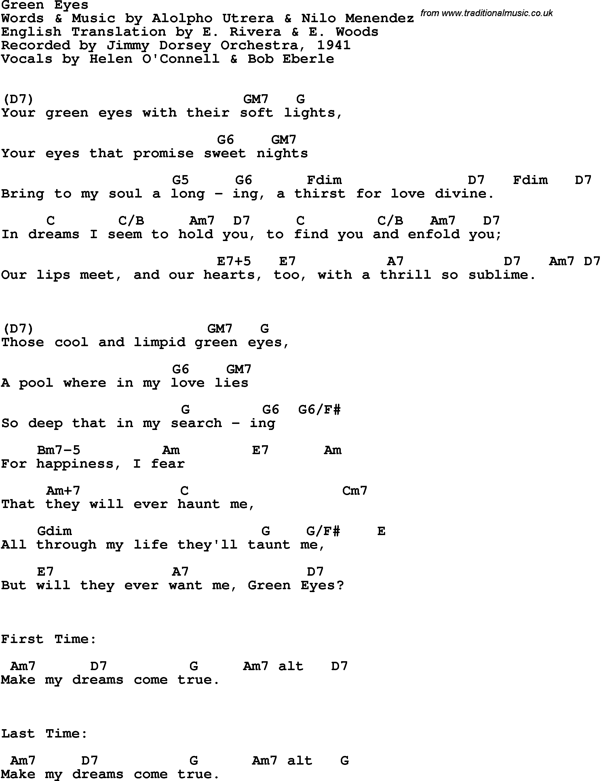 Song lyrics with guitar chords for green eyes jimmy dorsey song lyrics with guitar chords for green eyes jimmy dorsey orchestra 1941 hexwebz Image collections