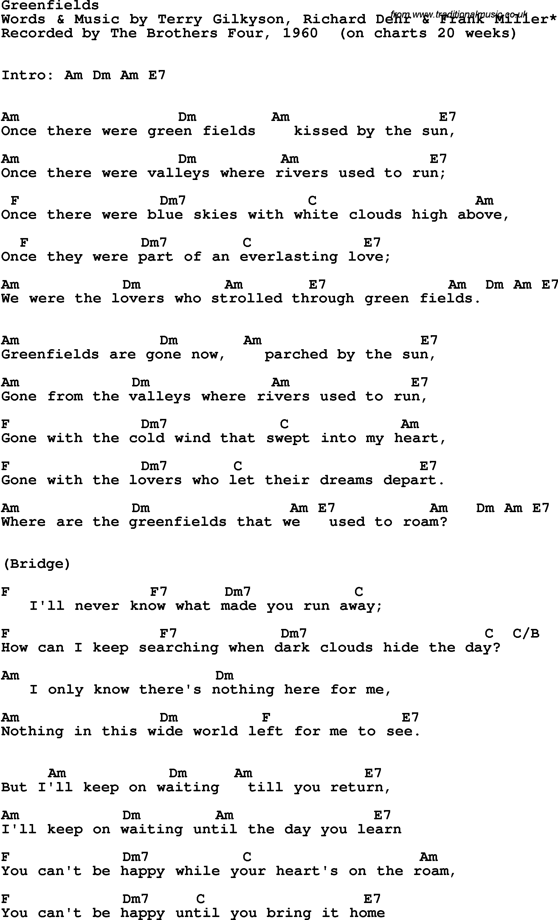 Song Lyrics With Guitar Chords For Greenfields The Brothers Four 1960