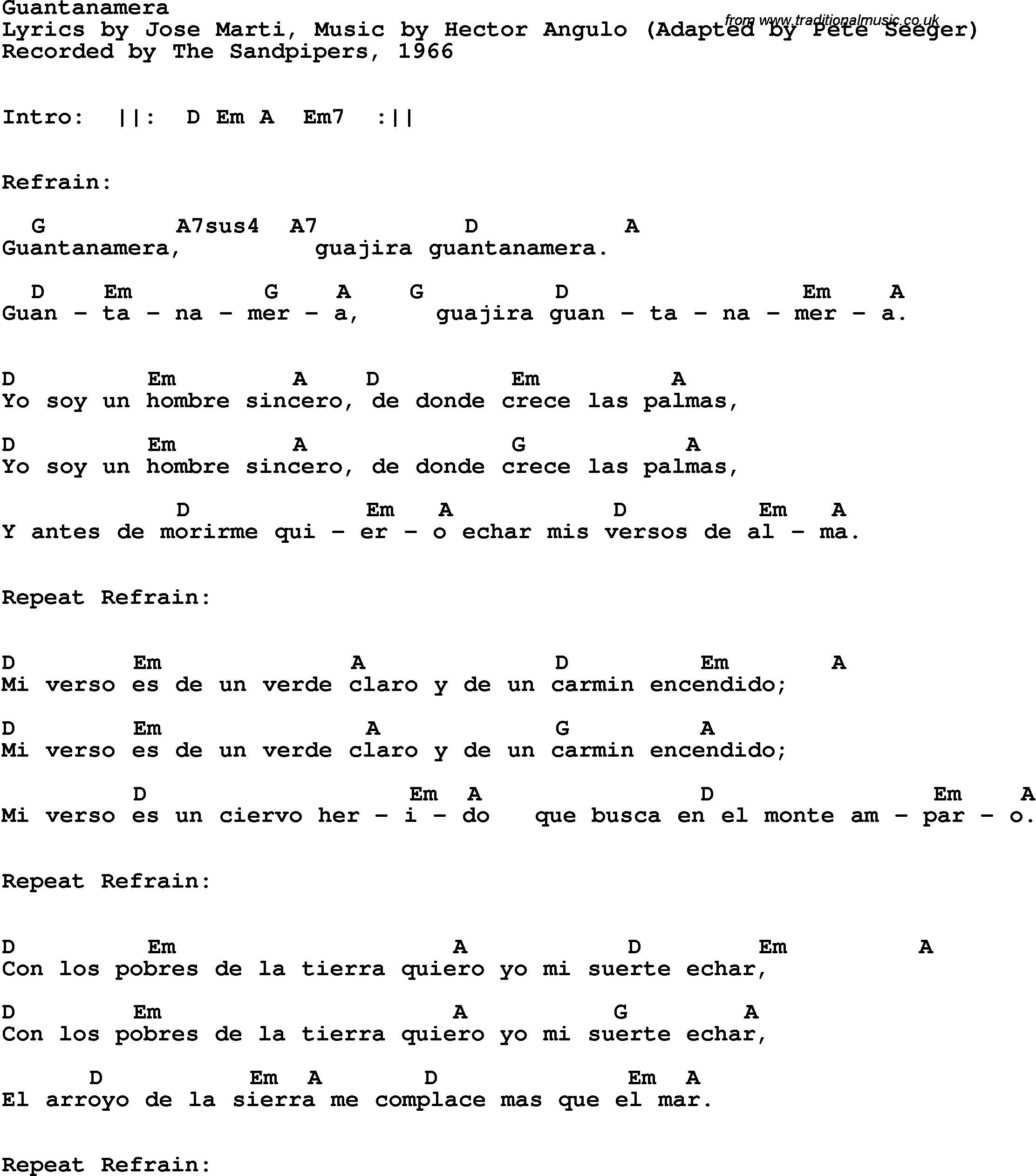 Song lyrics with guitar chords for guantanamera the sandpipers 1966 song lyrics with guitar chords for guantanamera the sandpipers 1966 hexwebz Image collections