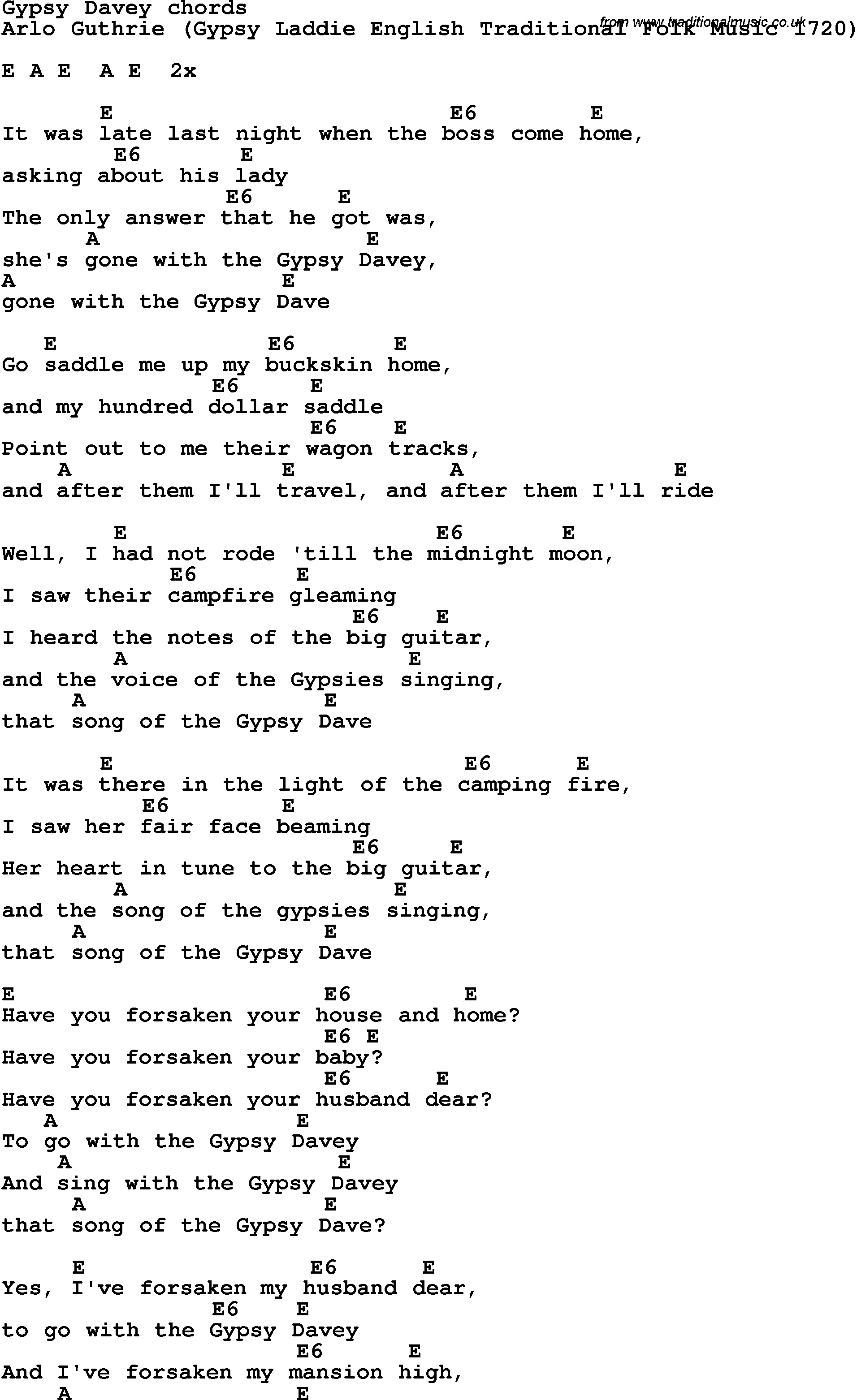 Song Lyrics With Guitar Chords For Gypsy Davey