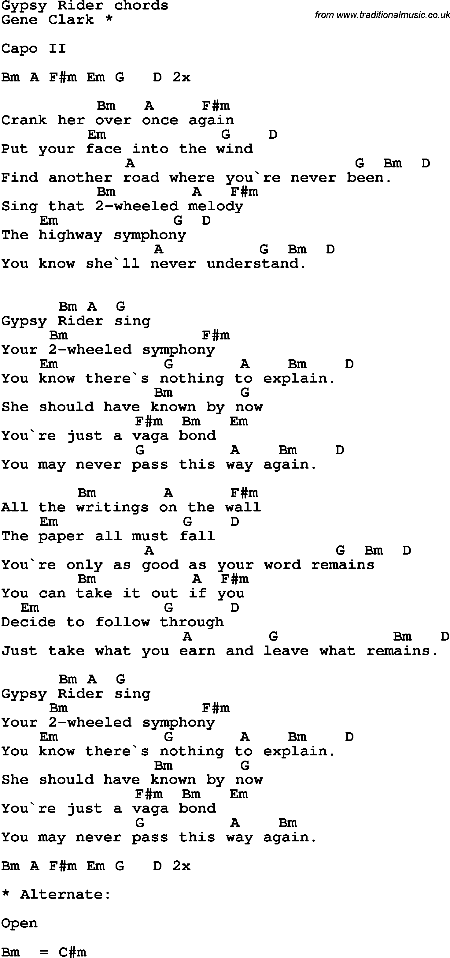 Song Lyrics With Guitar Chords For Gypsy Rider