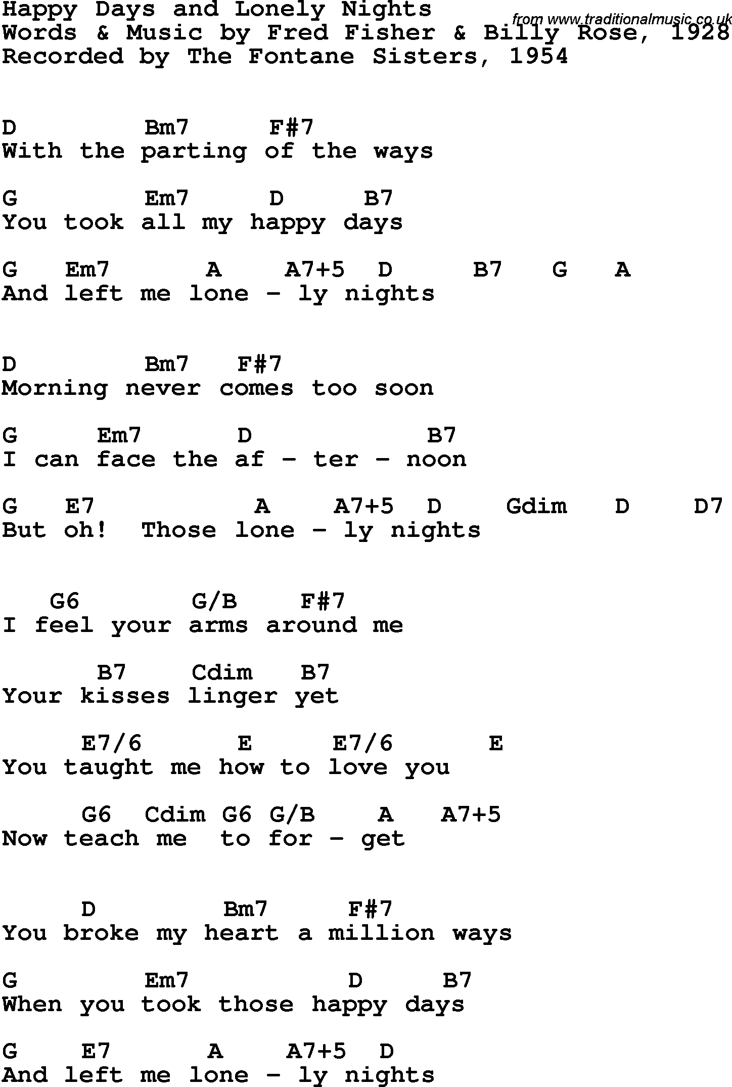 Song Lyrics With Guitar Chords For Happy Days And Lonely Nights