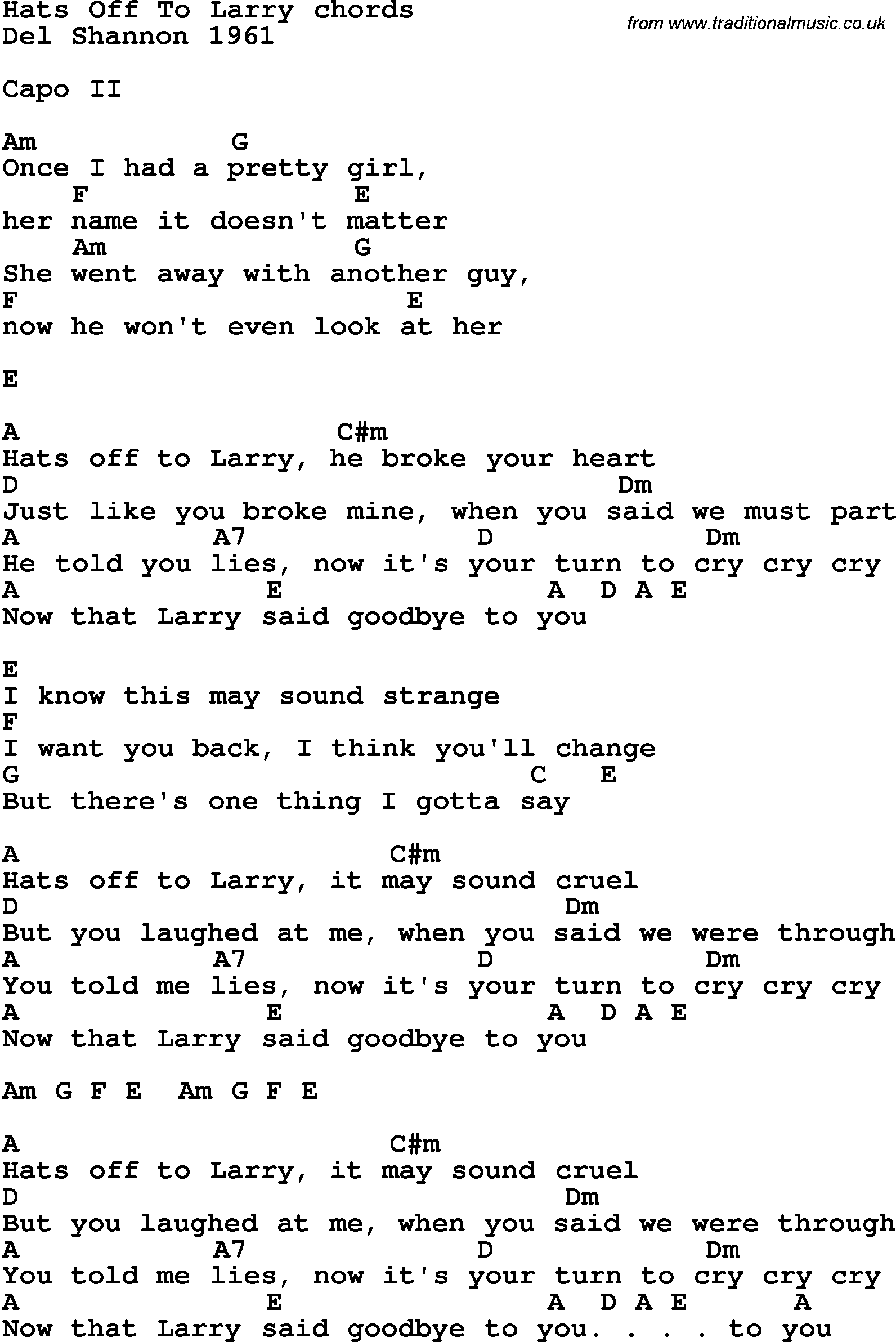 Song Lyrics With Guitar Chords For Hats Off To Larry