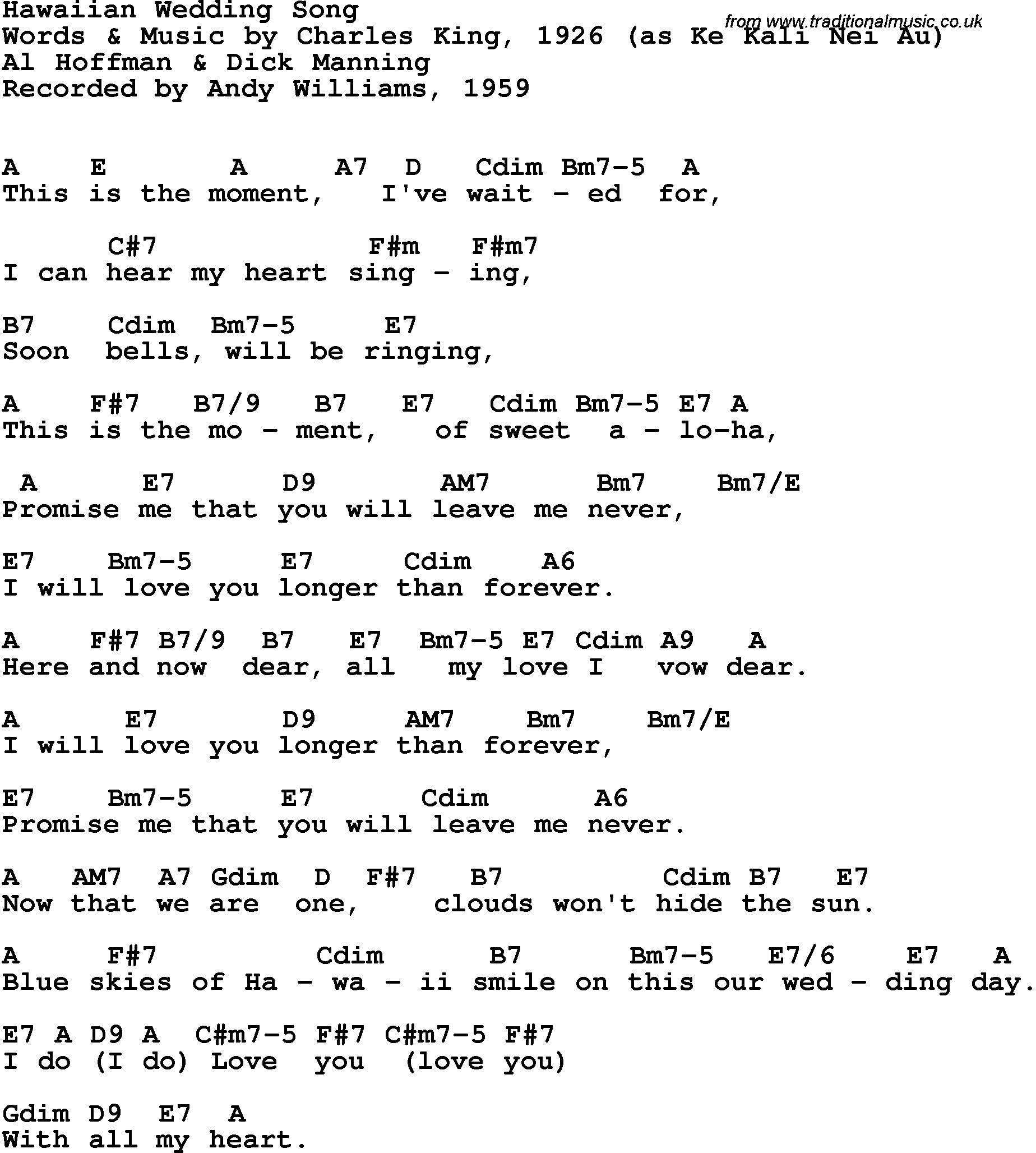 Song Lyrics With Guitar Chords For Hawaiian Wedding Song Andy