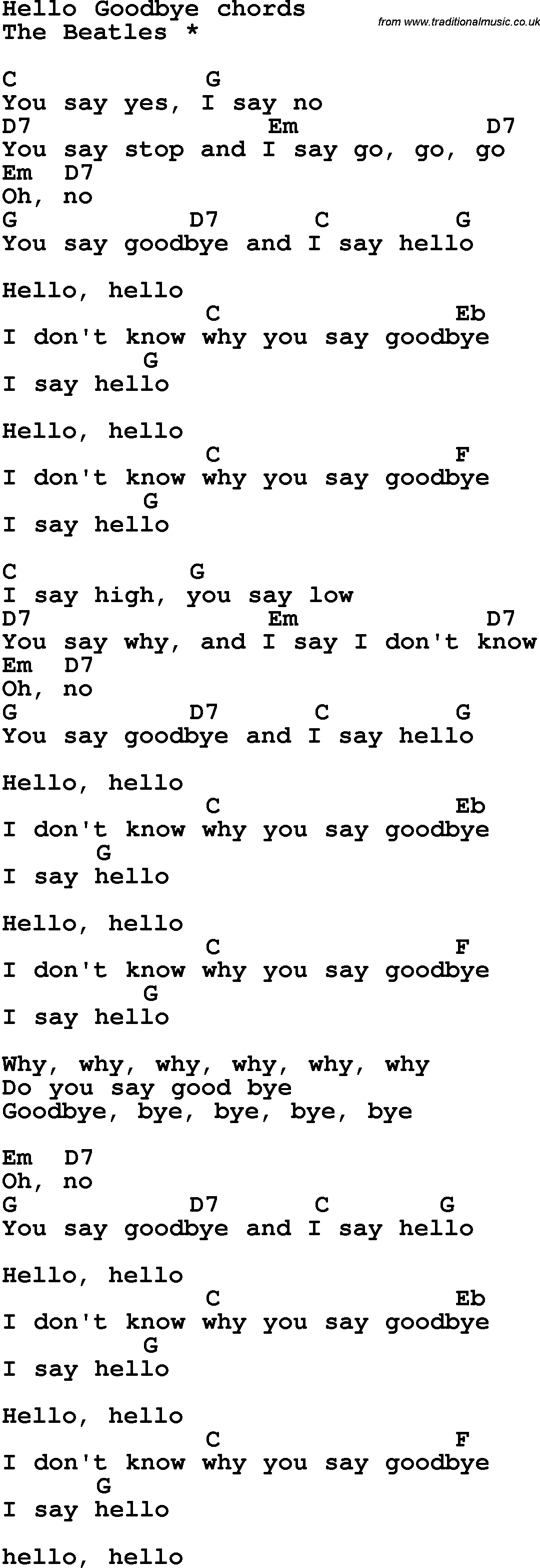 The Beatles Hello, Goodbye ( Lyrics ) - YouTube