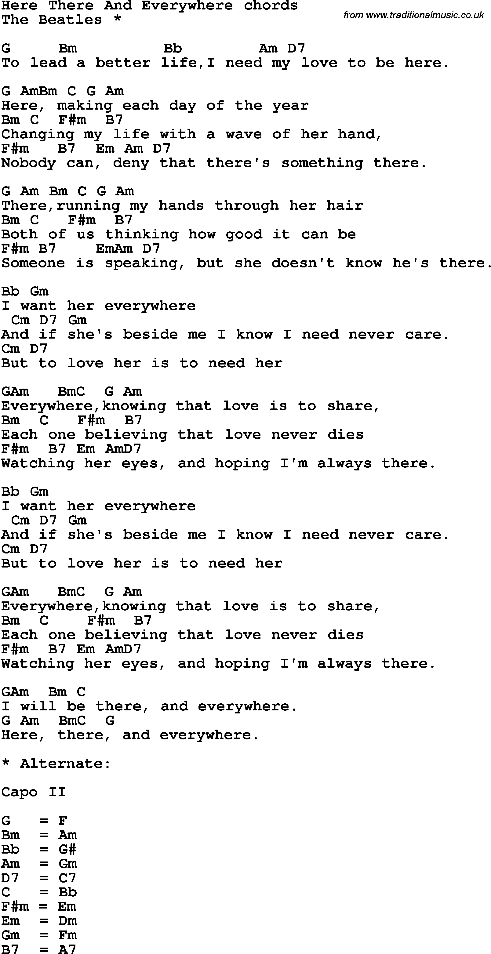 Song lyrics with guitar chords for Here There And Everywhere