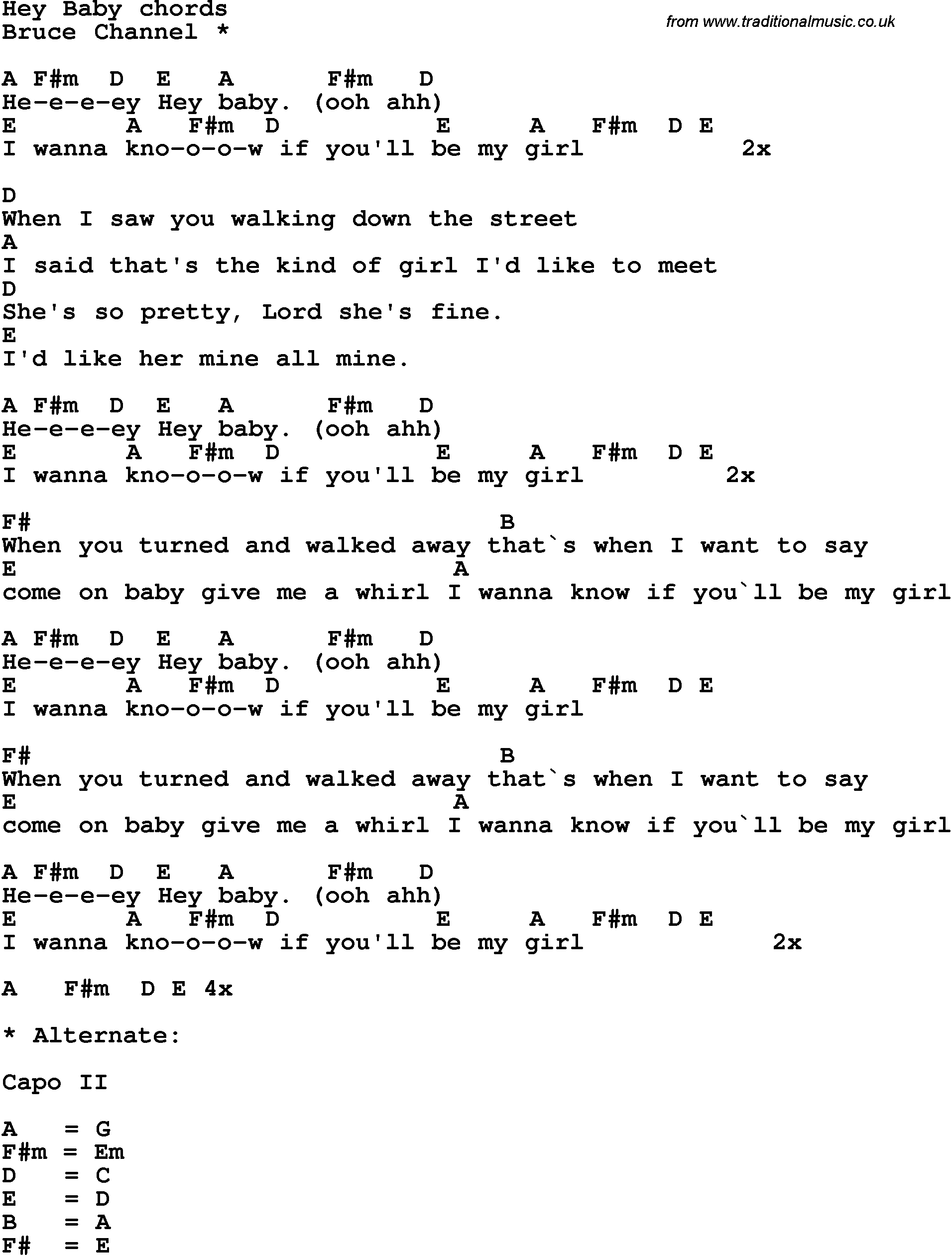 Song Lyrics With Guitar Chords For Hey Baby