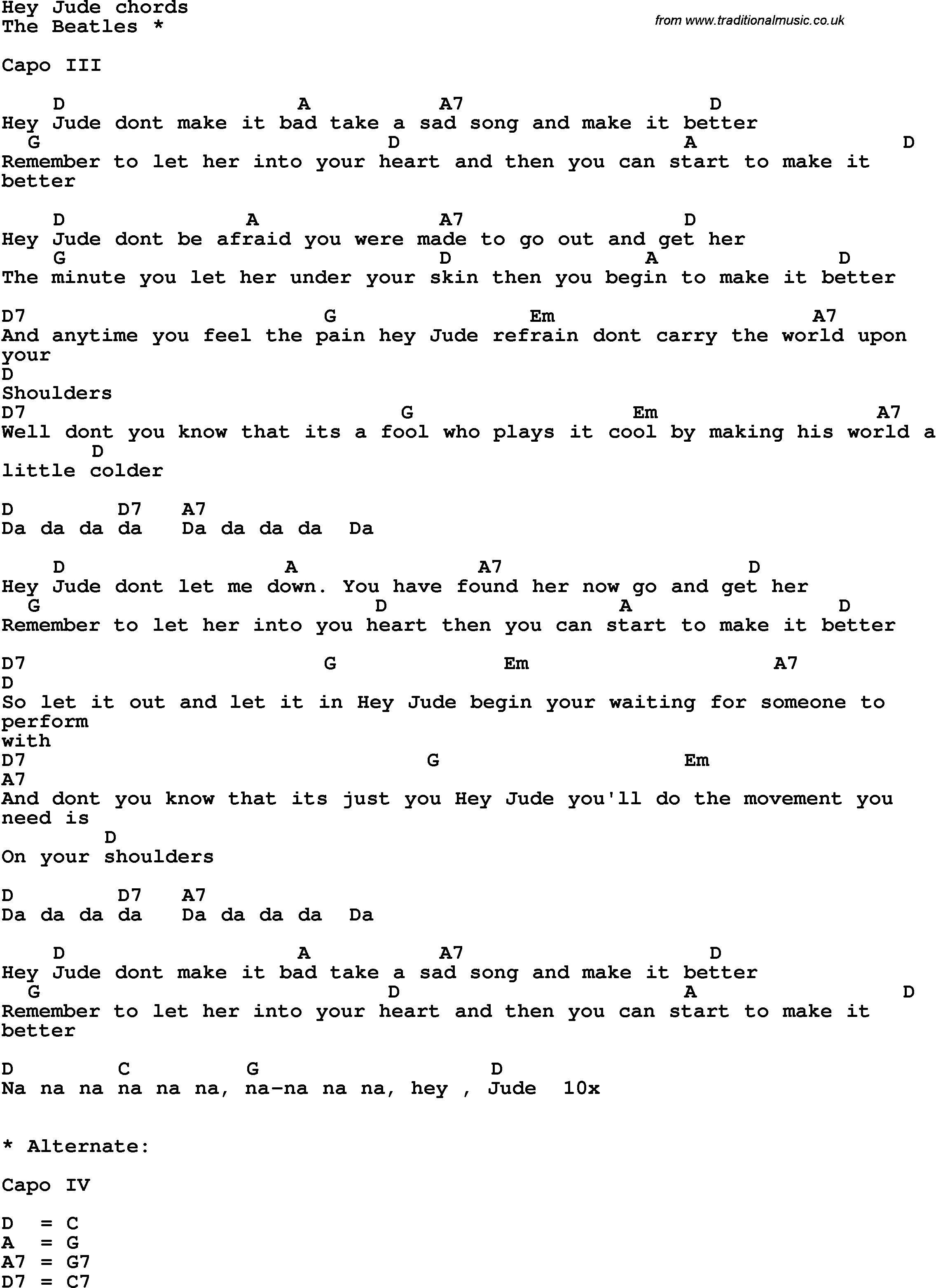 Song lyrics with guitar chords for hey jude the beatles song lyrics with guitar chords for hey jude the beatles hexwebz Images