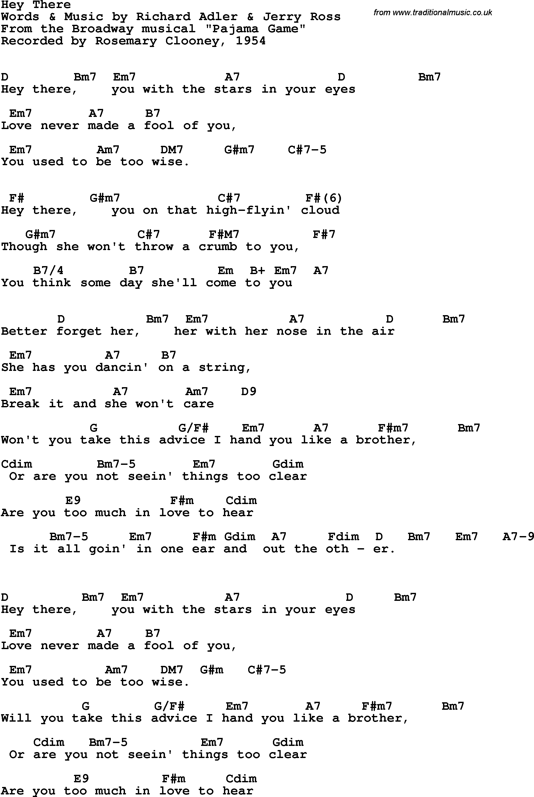 Song Lyrics With Guitar Chords For Hey There Rosemary Clooney 1954