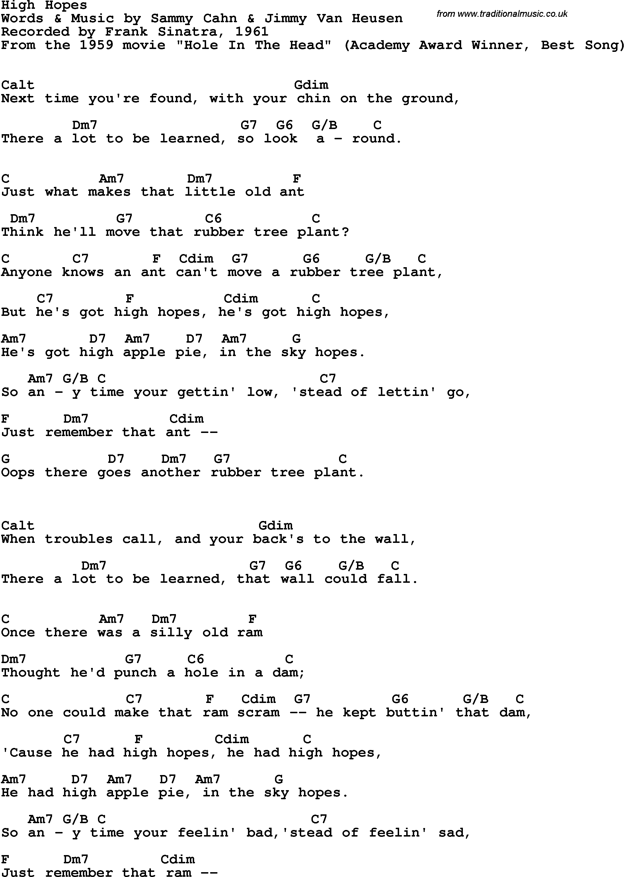 Song Lyrics With Guitar Chords For High Hopes Frank Sinatra 1961