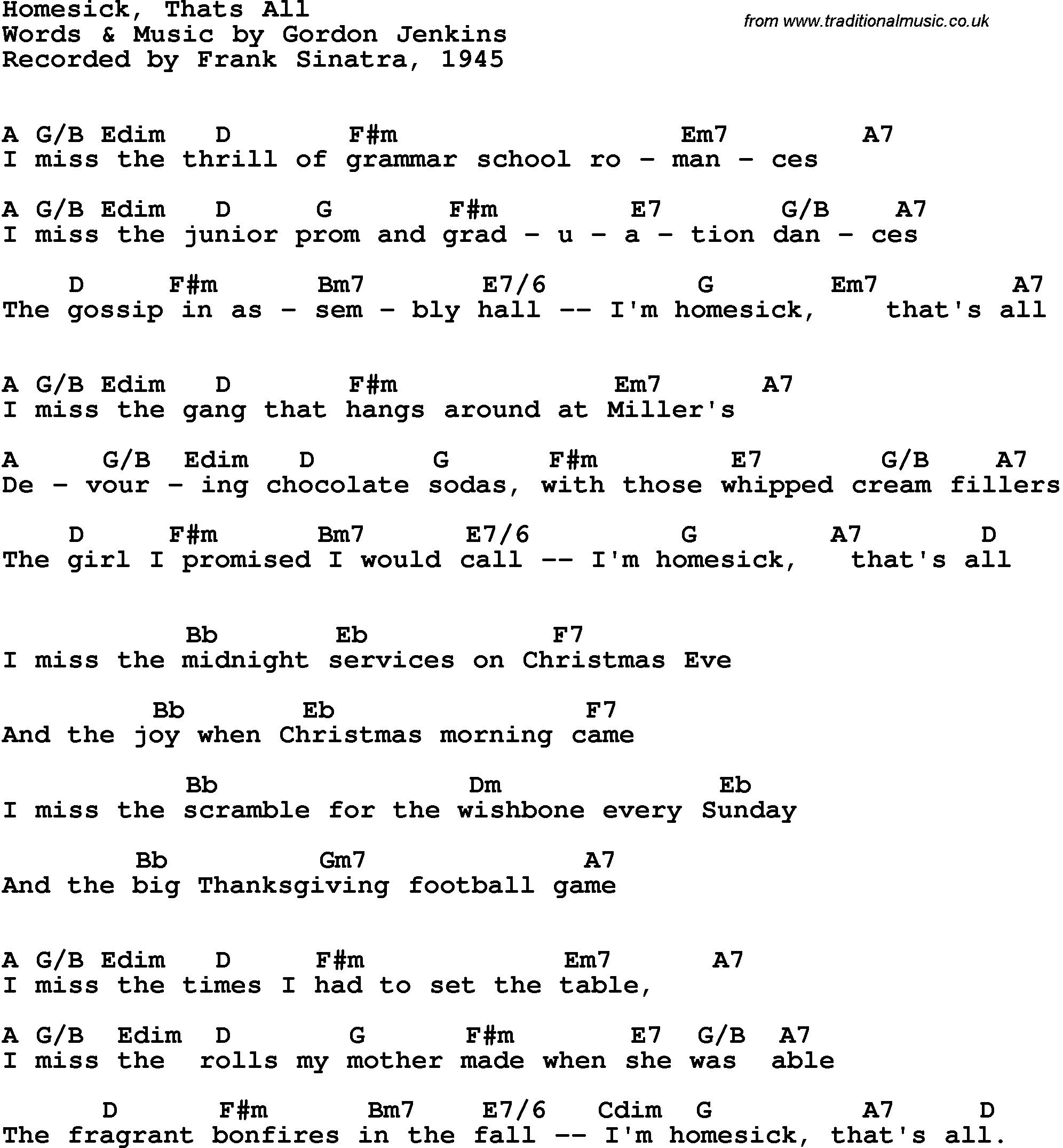 Song Lyrics With Guitar Chords For Homesick Thats All Frank