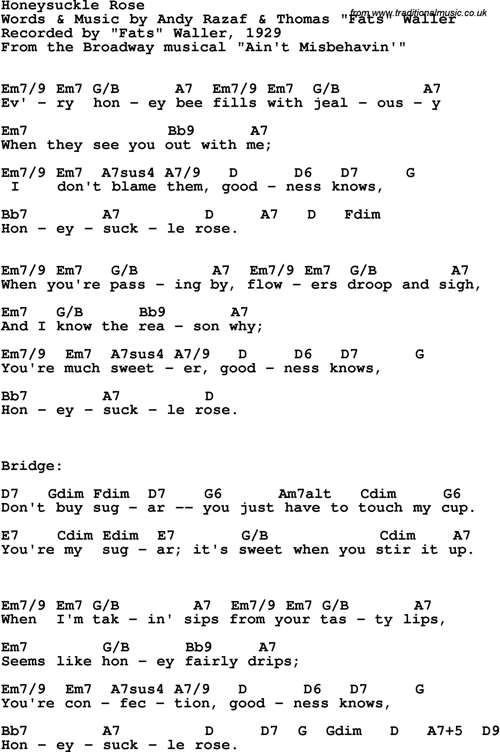Song Lyrics With Guitar Chords For Honeysuckle Rose Fats Waller 1929