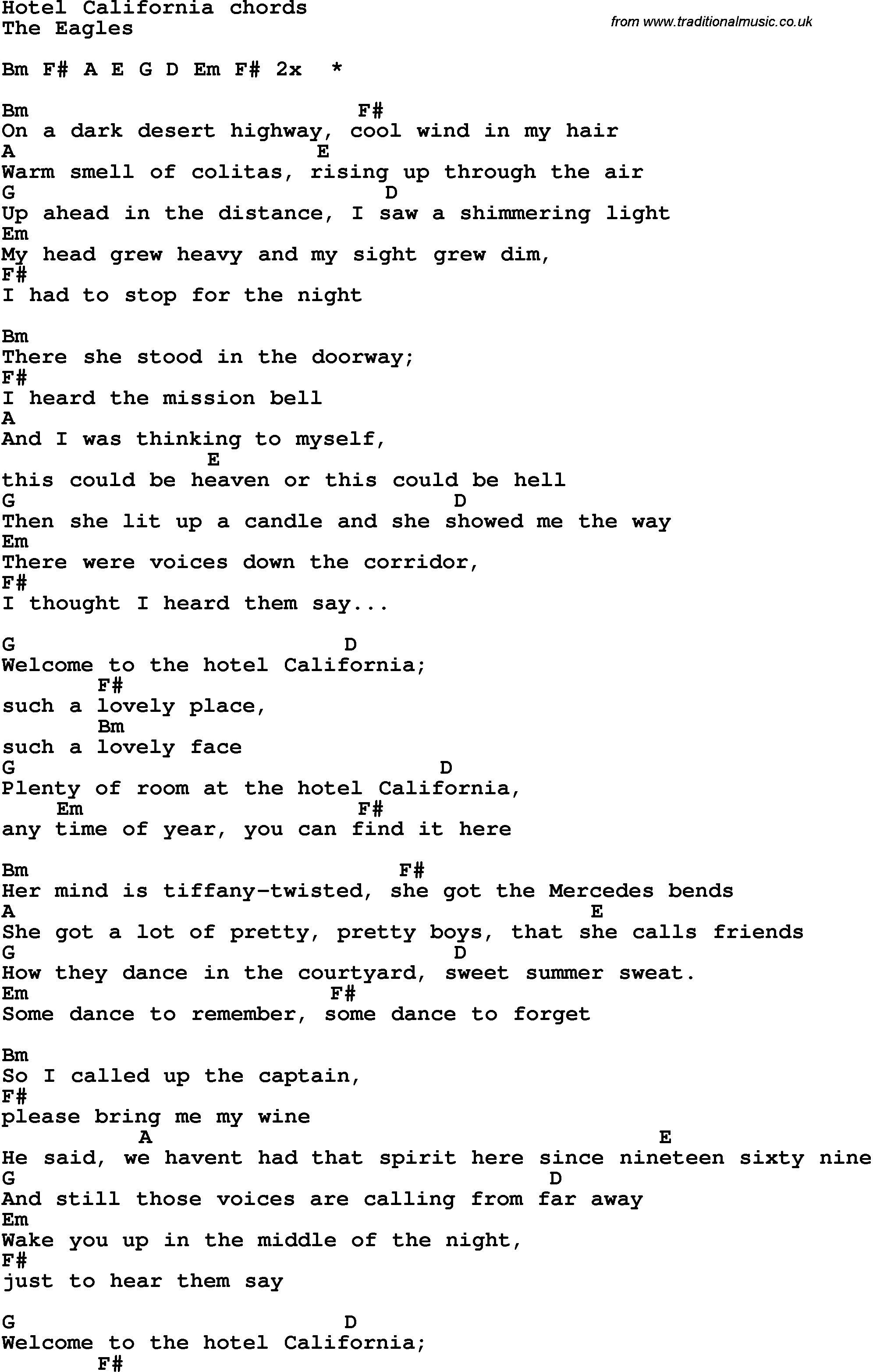 Song Lyrics With Guitar Chords For Hotel California