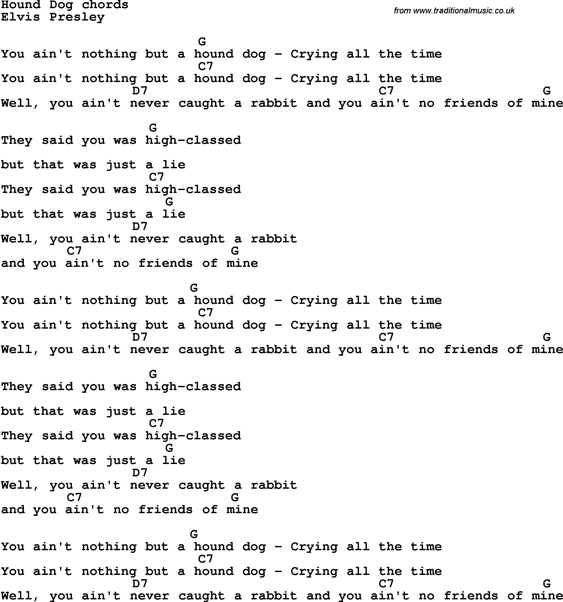 song lyrics with guitar chords for hound dog