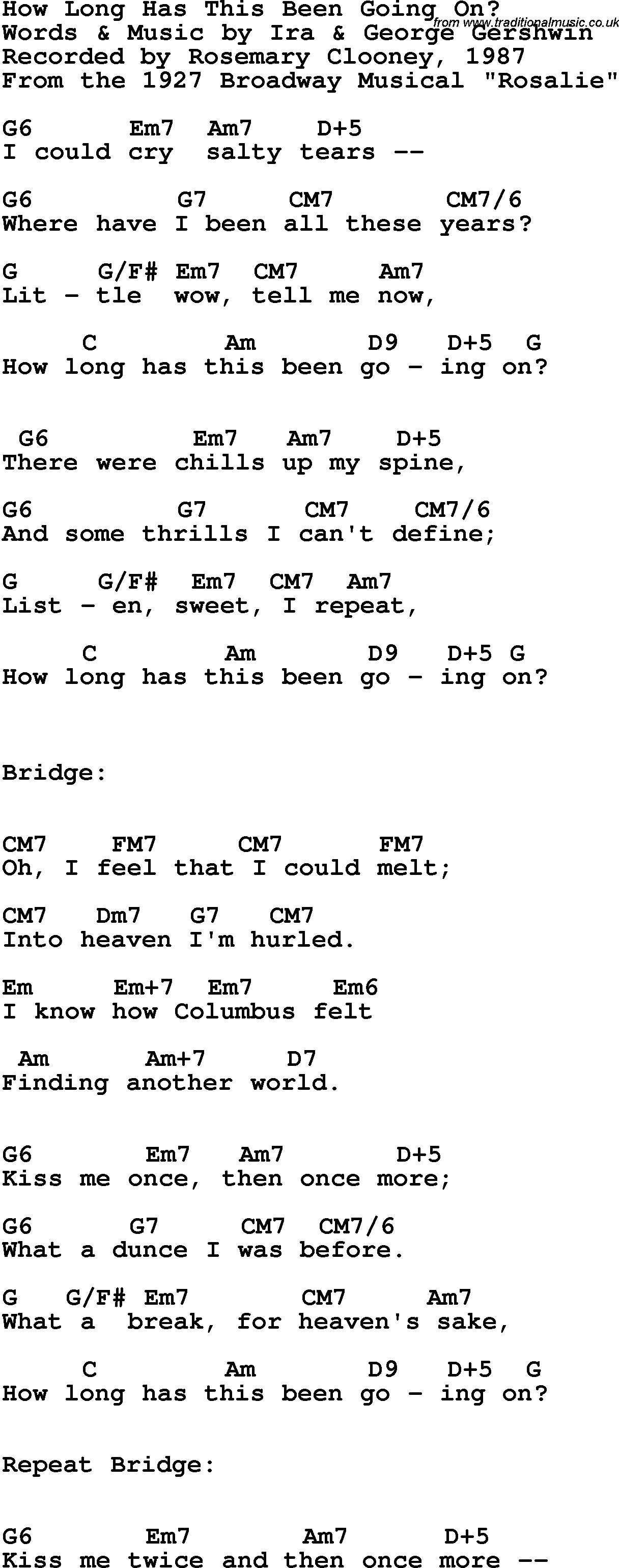 Song lyrics with guitar chords for How Long Has This Been