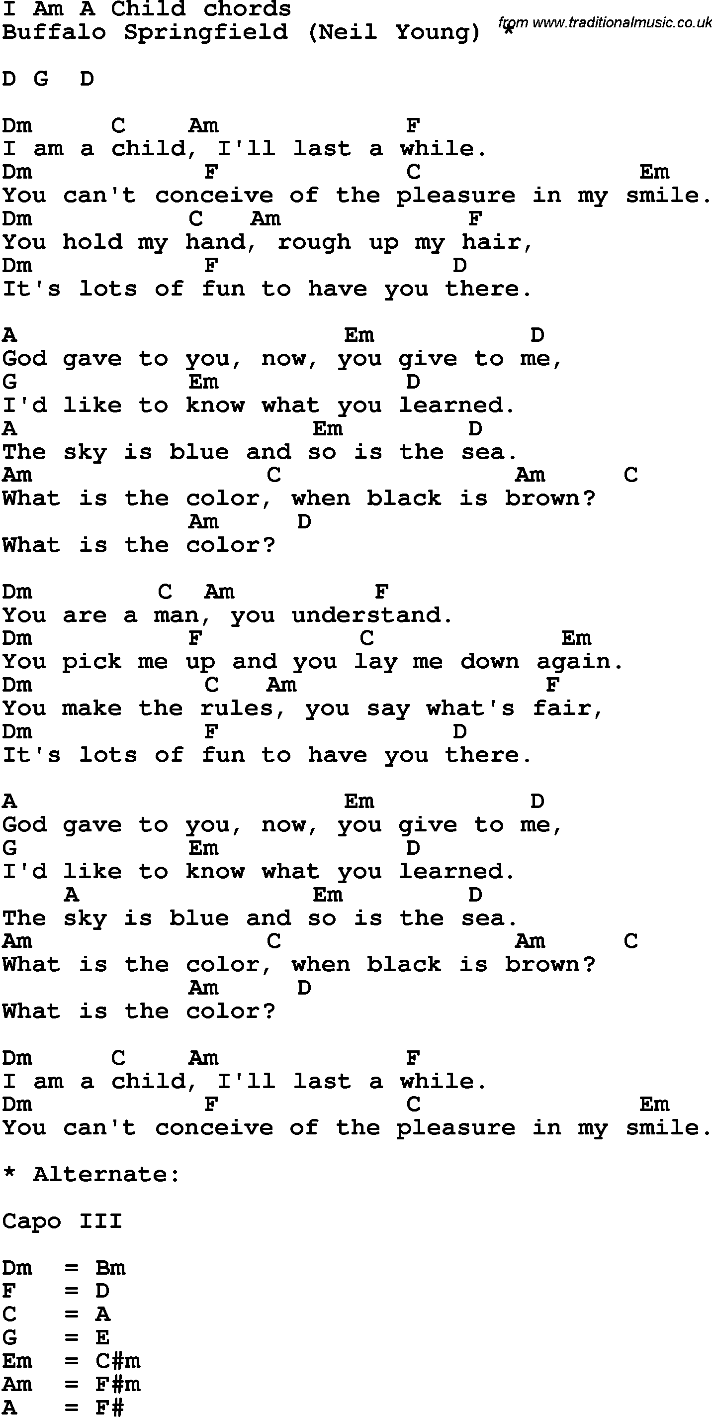 Song Lyrics With Guitar Chords For I Am A Child