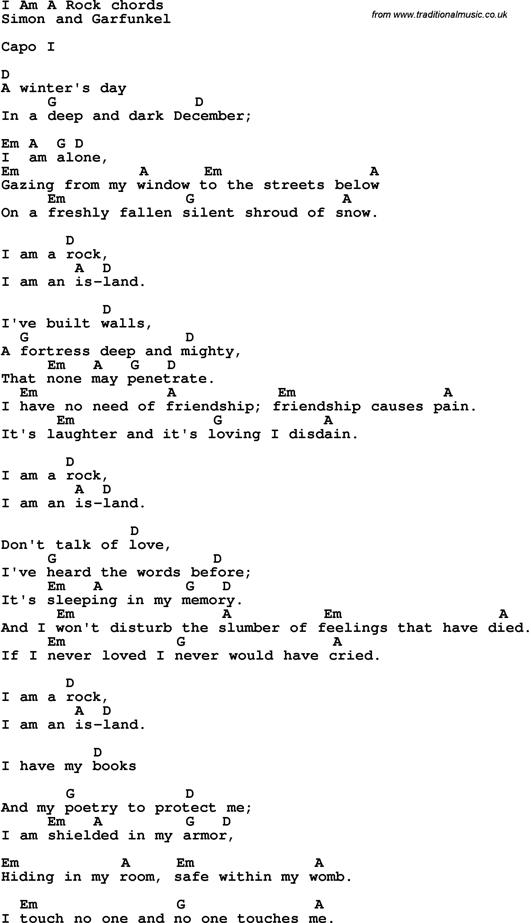 Song Lyrics With Guitar Chords For I Am A Rock