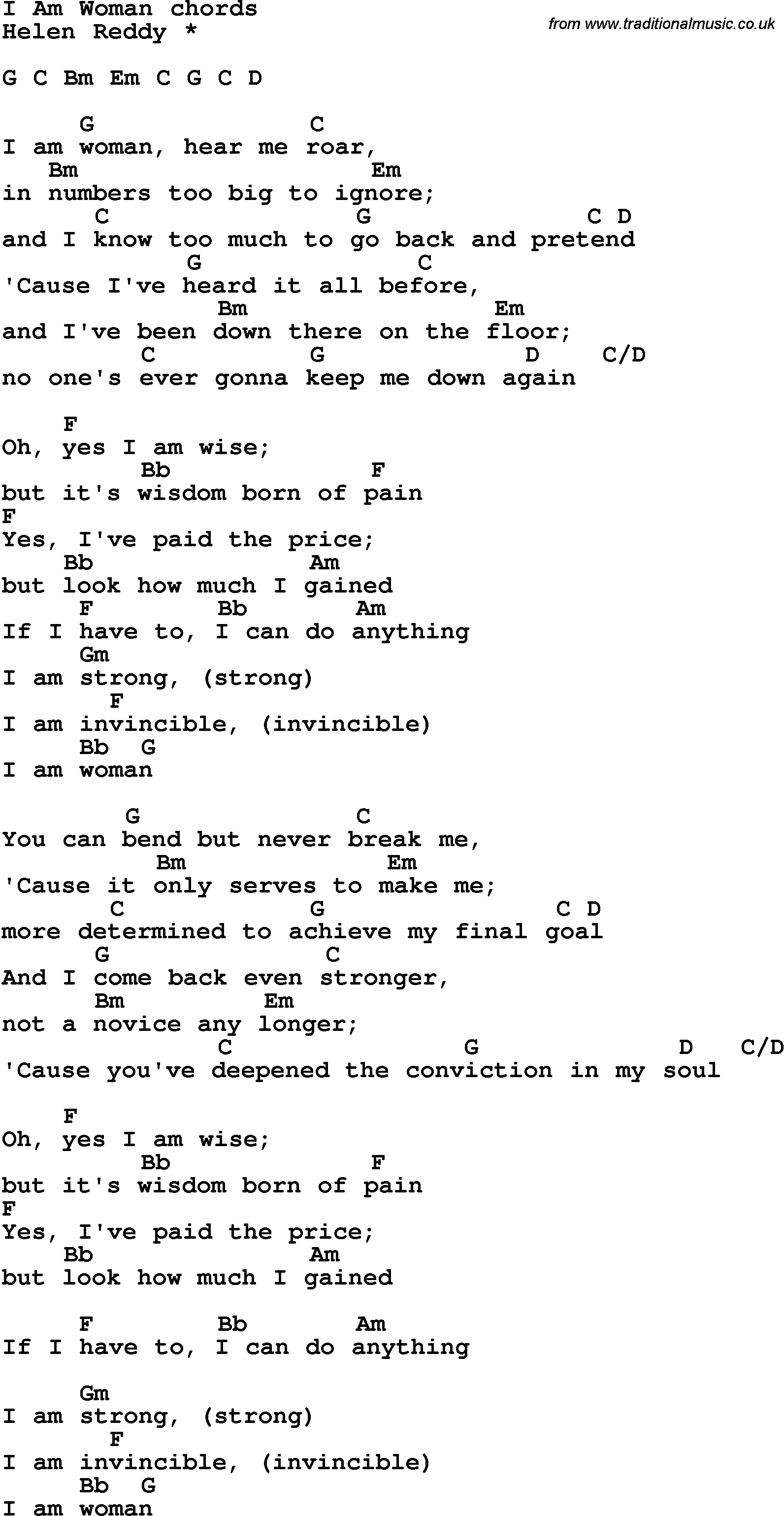 Song Lyrics With Guitar Chords For I Am Woman