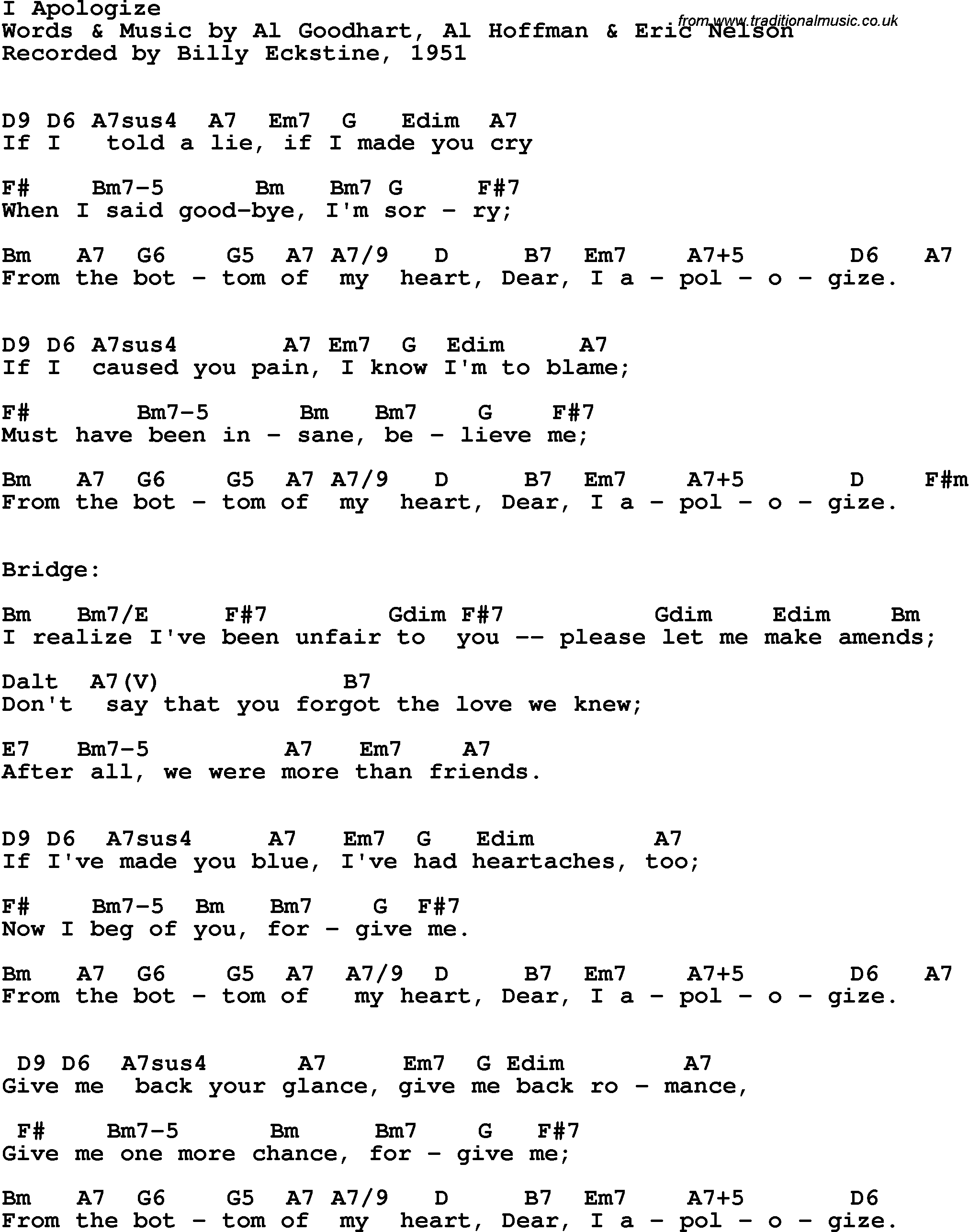 Song Lyrics With Guitar Chords For I Apologize Billy Eckstine 1951
