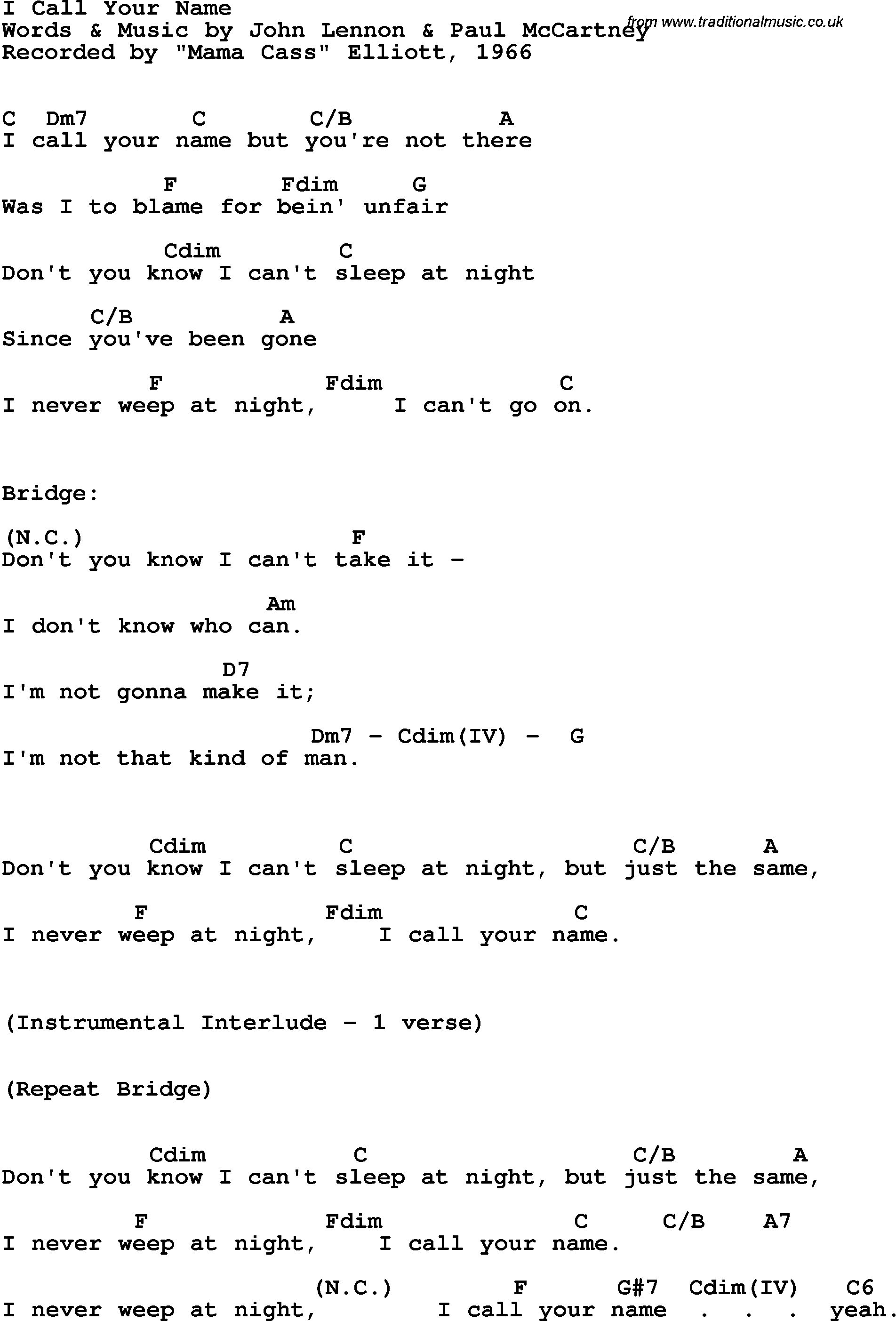 Song lyrics with guitar chords for I Call Your Name - Mama Cass Elliott, 1966