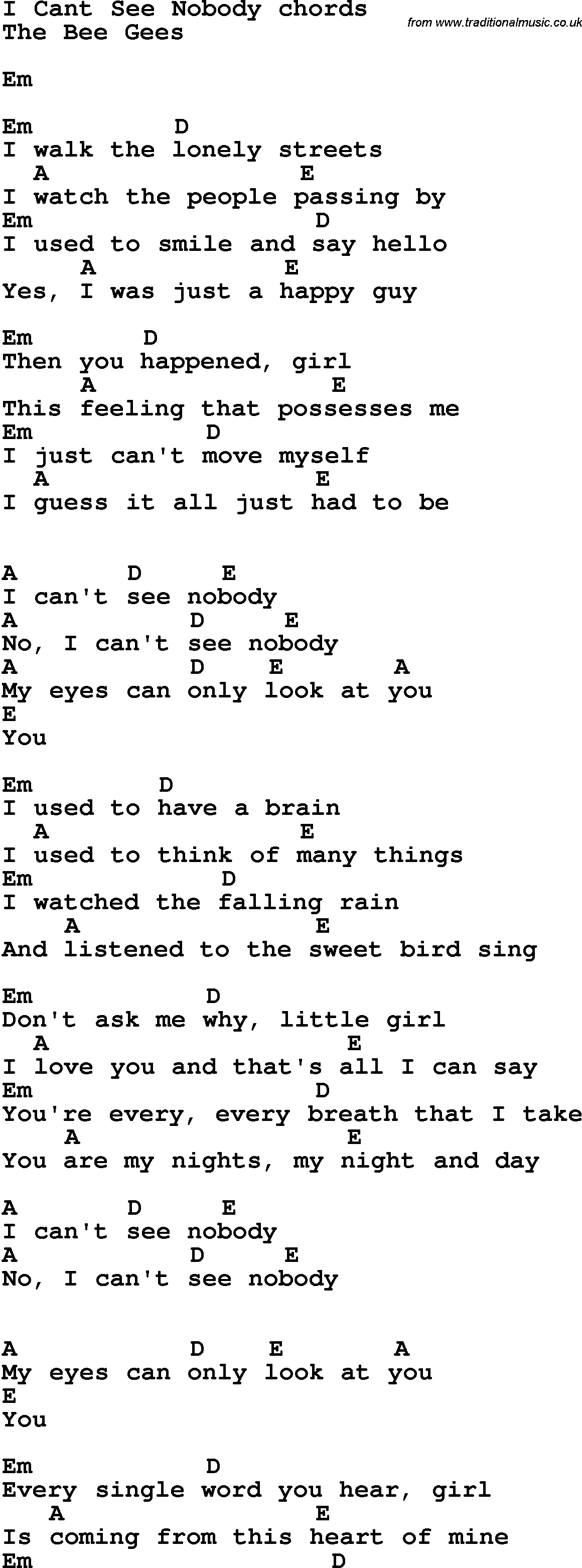 Song Lyrics With Guitar Chords For I Can T See Nobody Lyrics © bmg rights management, songtrust ave, peermusic publishing, kobalt music publishing ltd. traditional music library