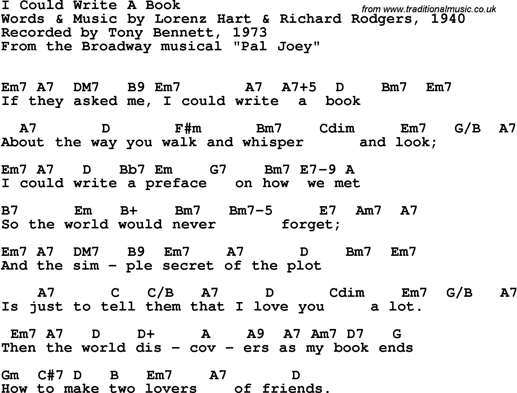 Song Lyrics With Guitar Chords For I Could Write A Book Tony