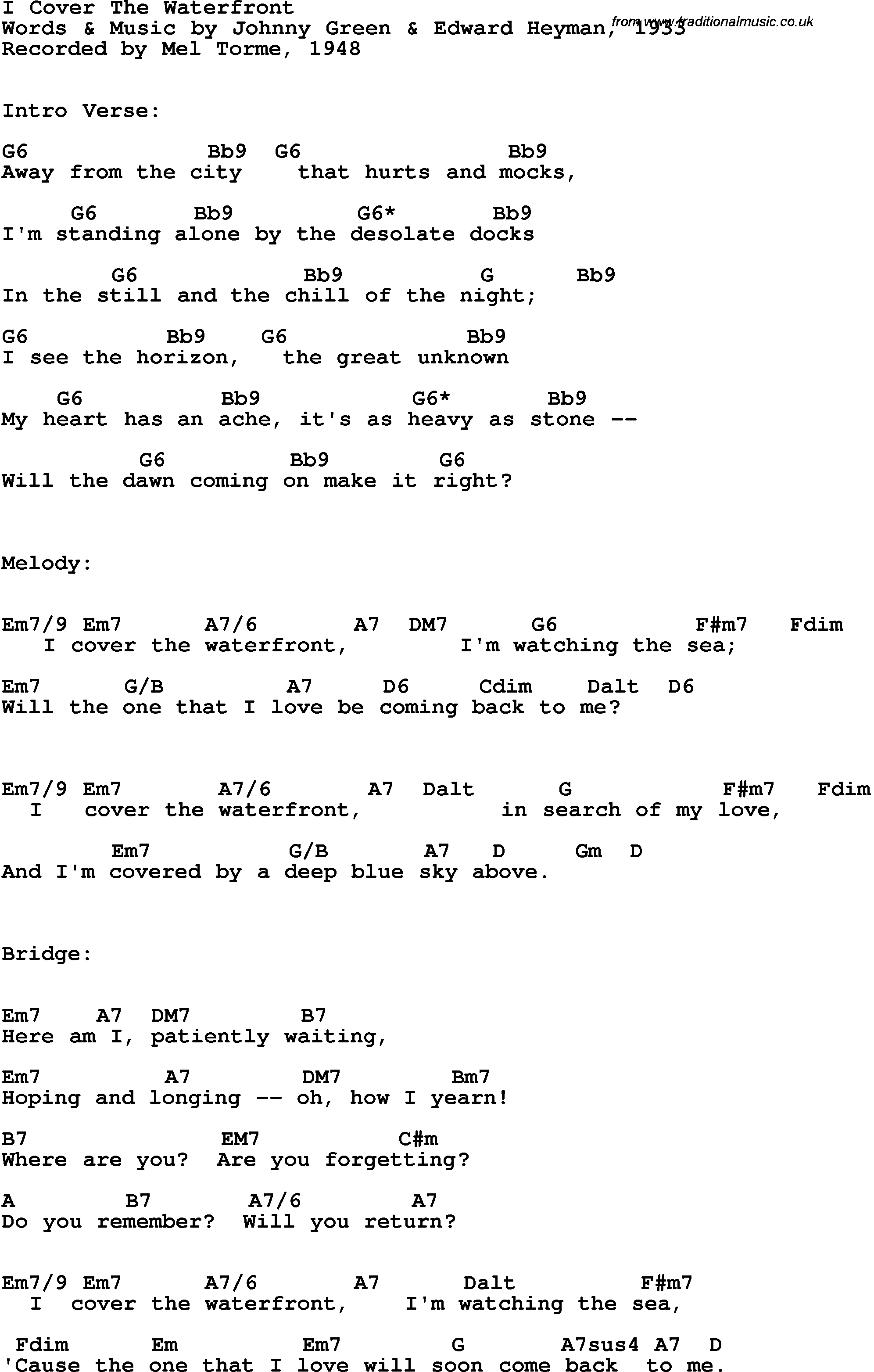 Song Lyrics With Guitar Chords For I Cover The Waterfront Mel