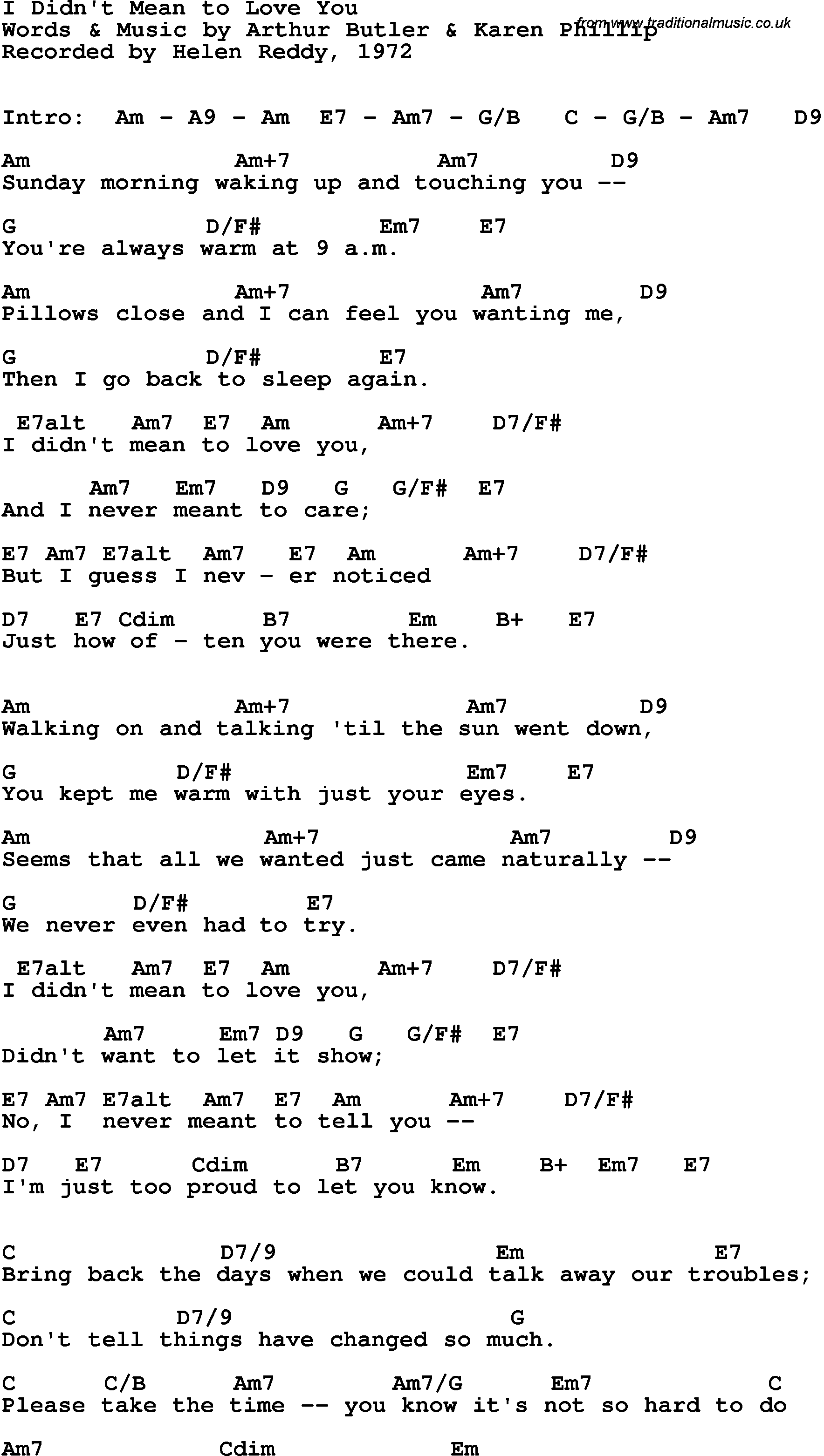 Song Lyrics With Guitar Chords For I Didnt Mean To Love You Helen