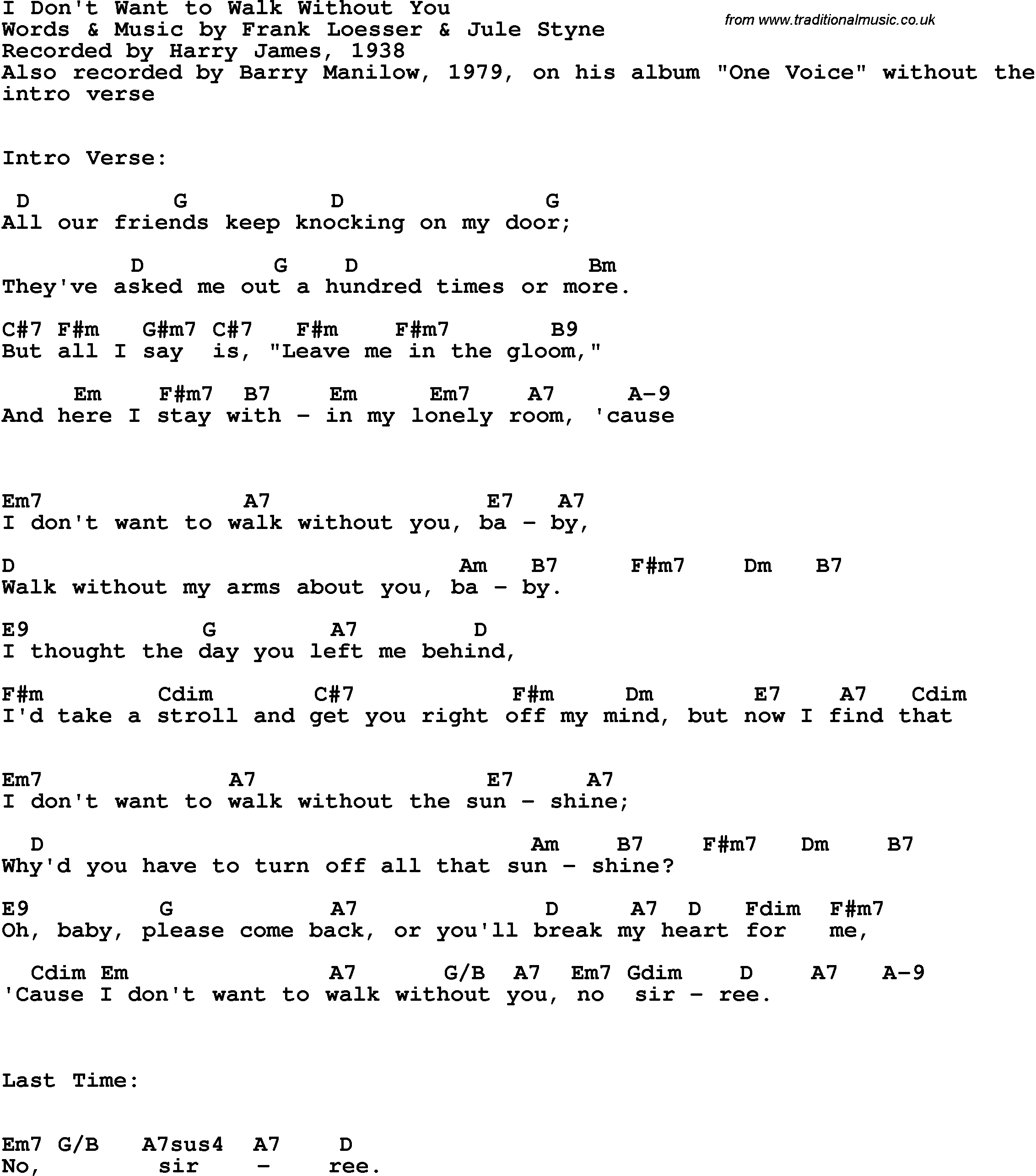 Song lyrics with guitar chords for I Don't Want To Walk