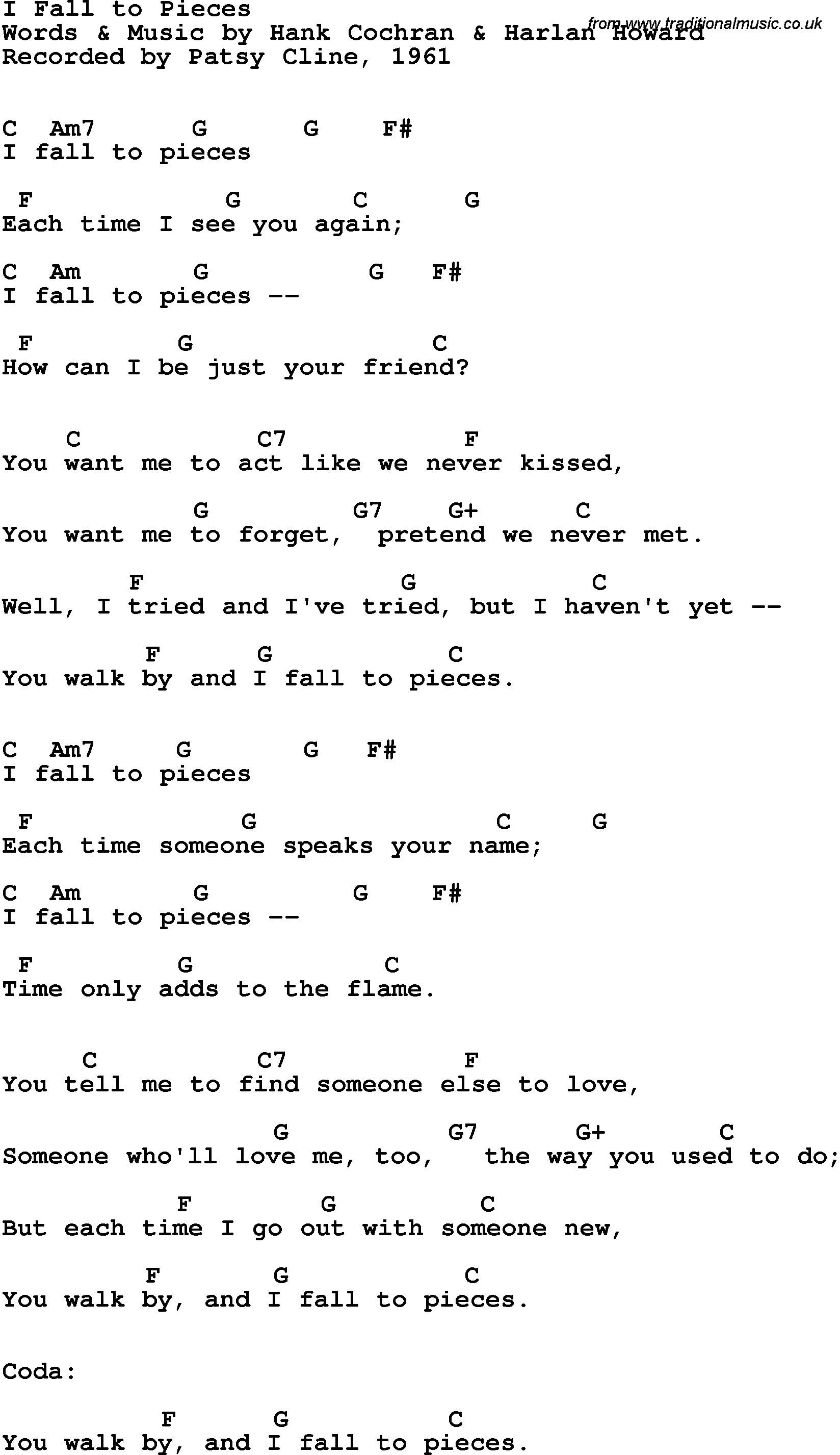 Song lyrics with guitar chords for I Fall To Pieces ...